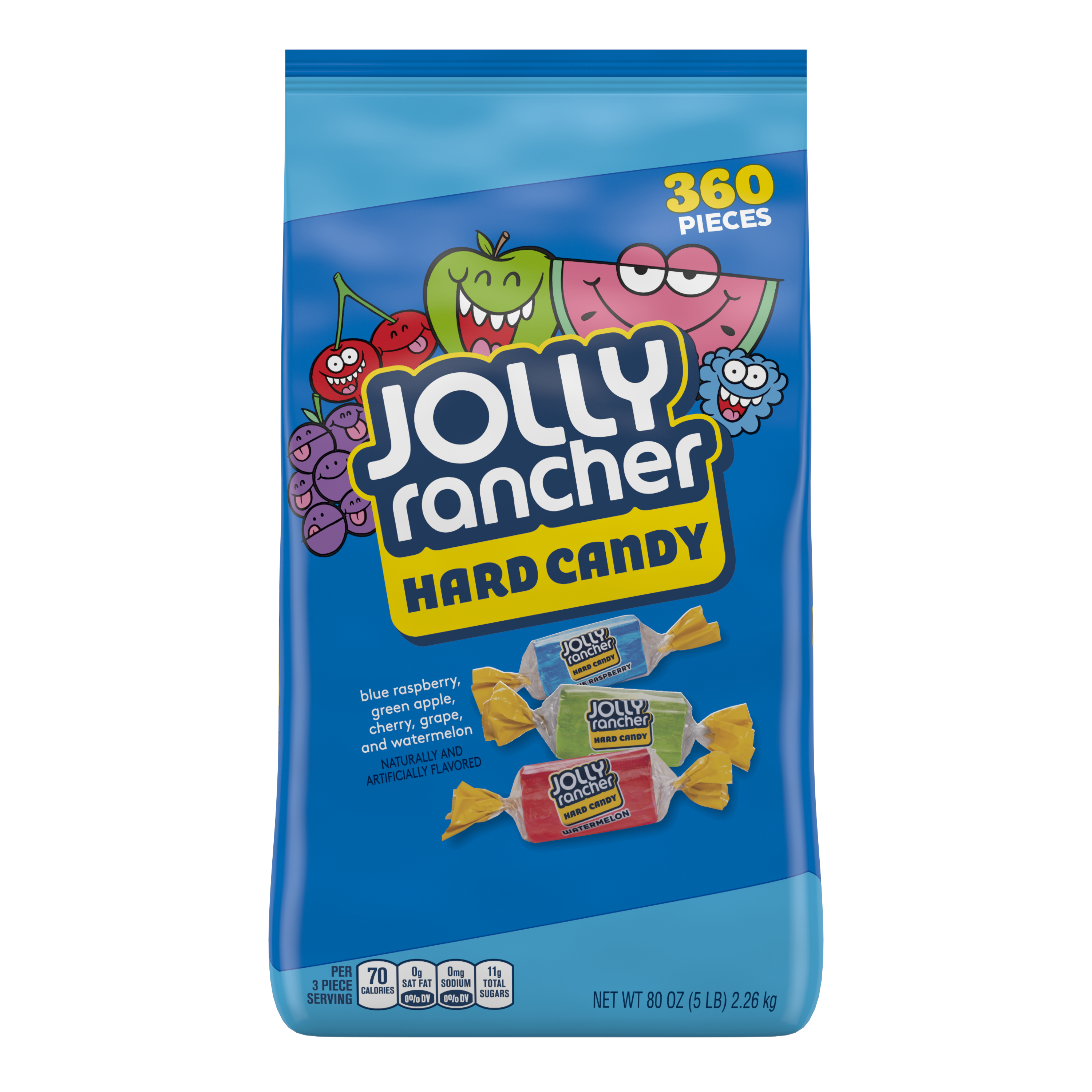 JOLLY RANCHER Original Flavors Hard Candy, 80 oz bag, 360 pieces - Front of Package
