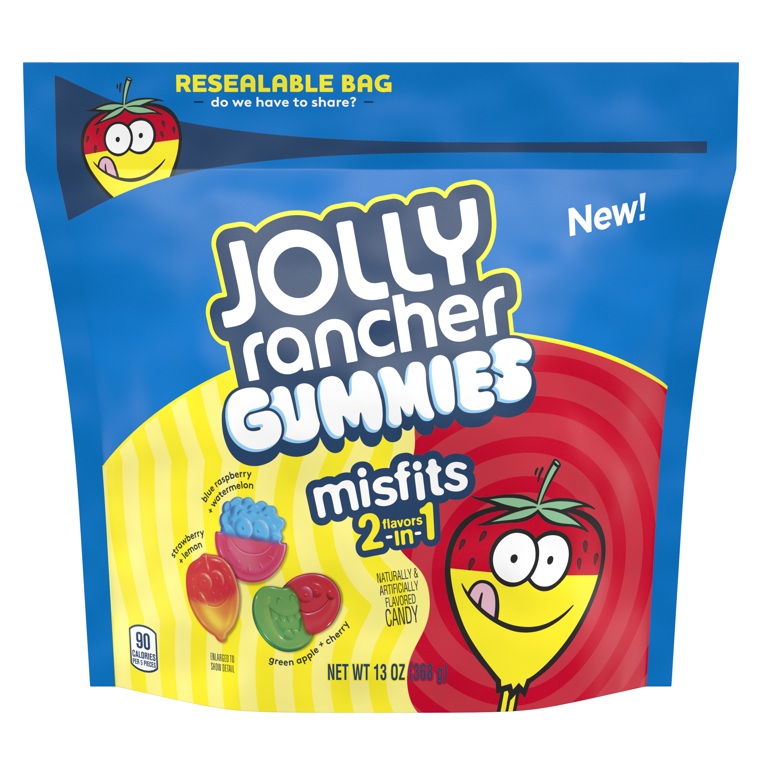 JOLLY RANCHER MISFITS Gummies, 13 oz bag - Front of Package