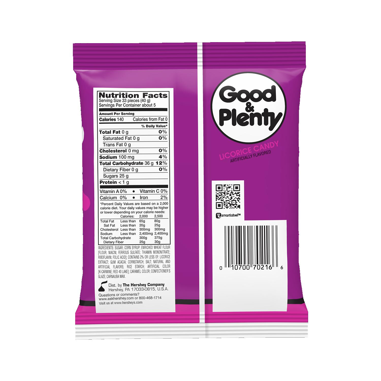 GOOD & PLENTY Licorice Candy, 7 oz bag - Back of Package