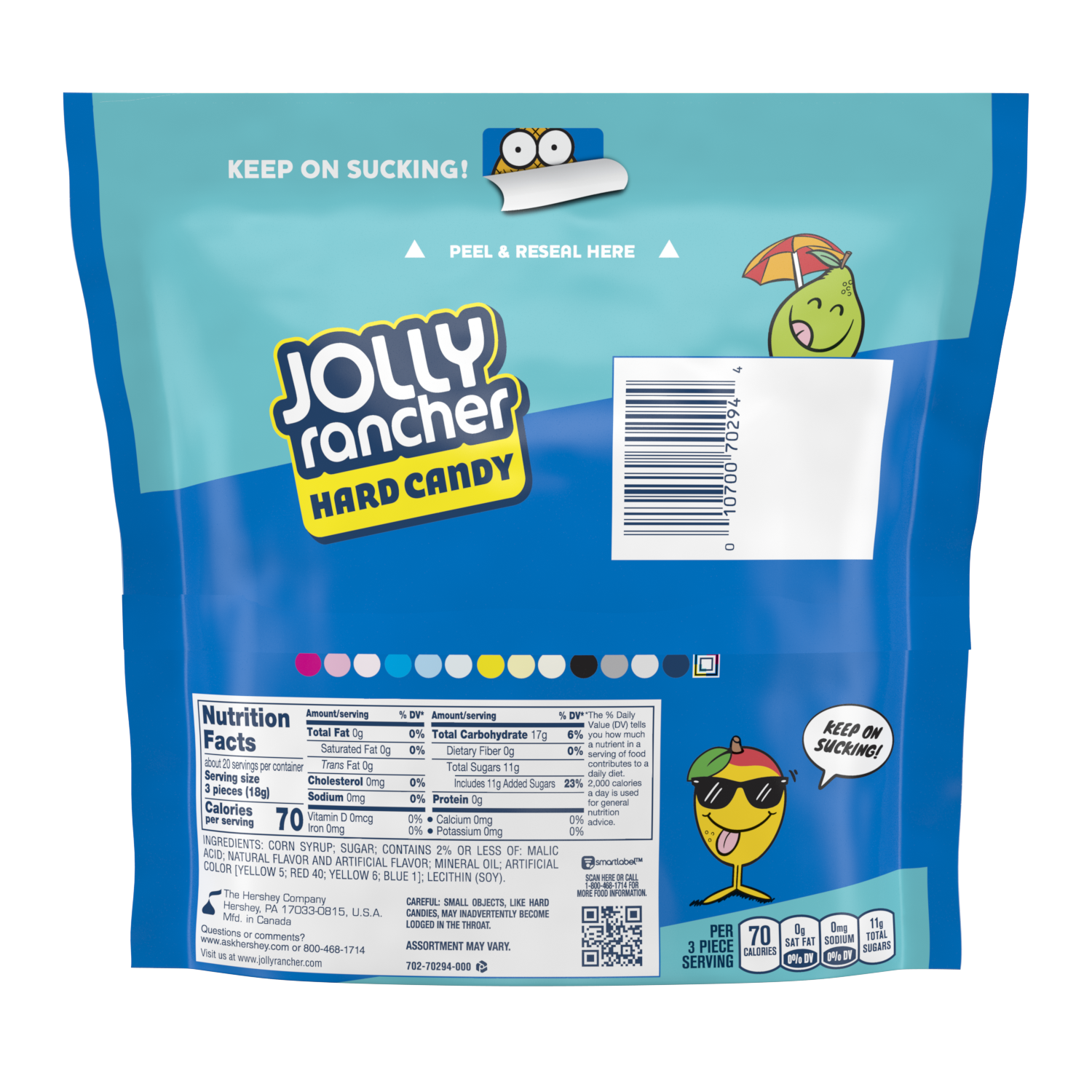 JOLLY RANCHER Tropical Hard Candy, 13 oz bag - Back of Package