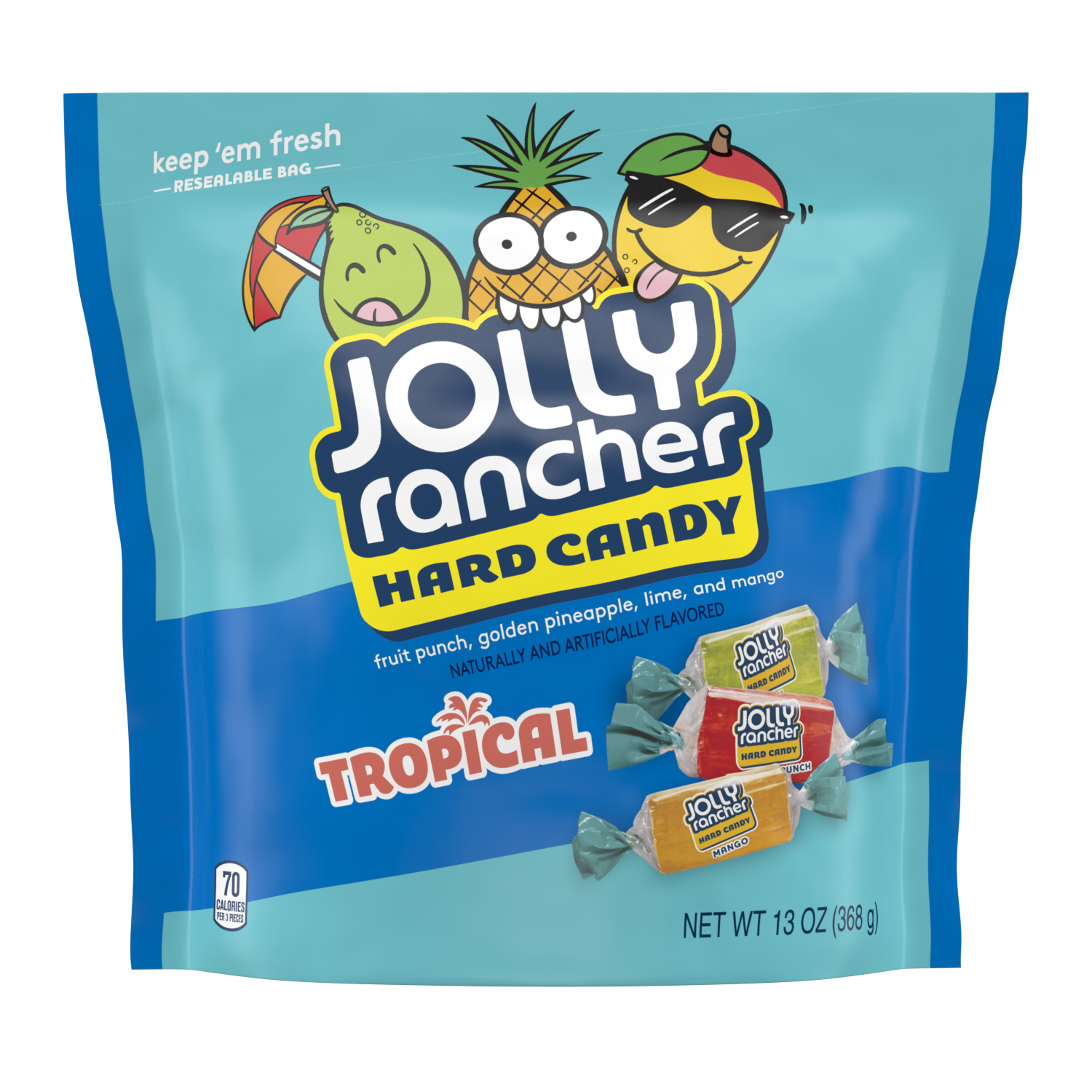 JOLLY RANCHER Tropical Hard Candy, 13 oz bag - Front of Package