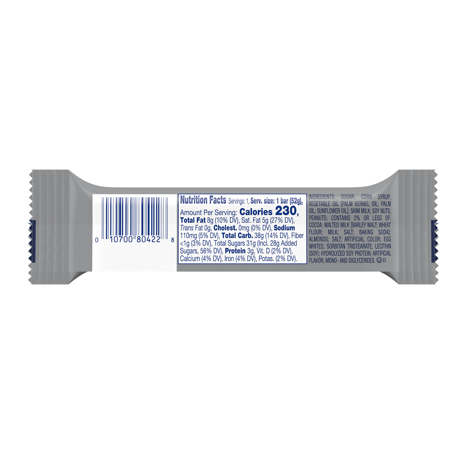ZERO Candy Bar, 1.85 oz - Back of Package