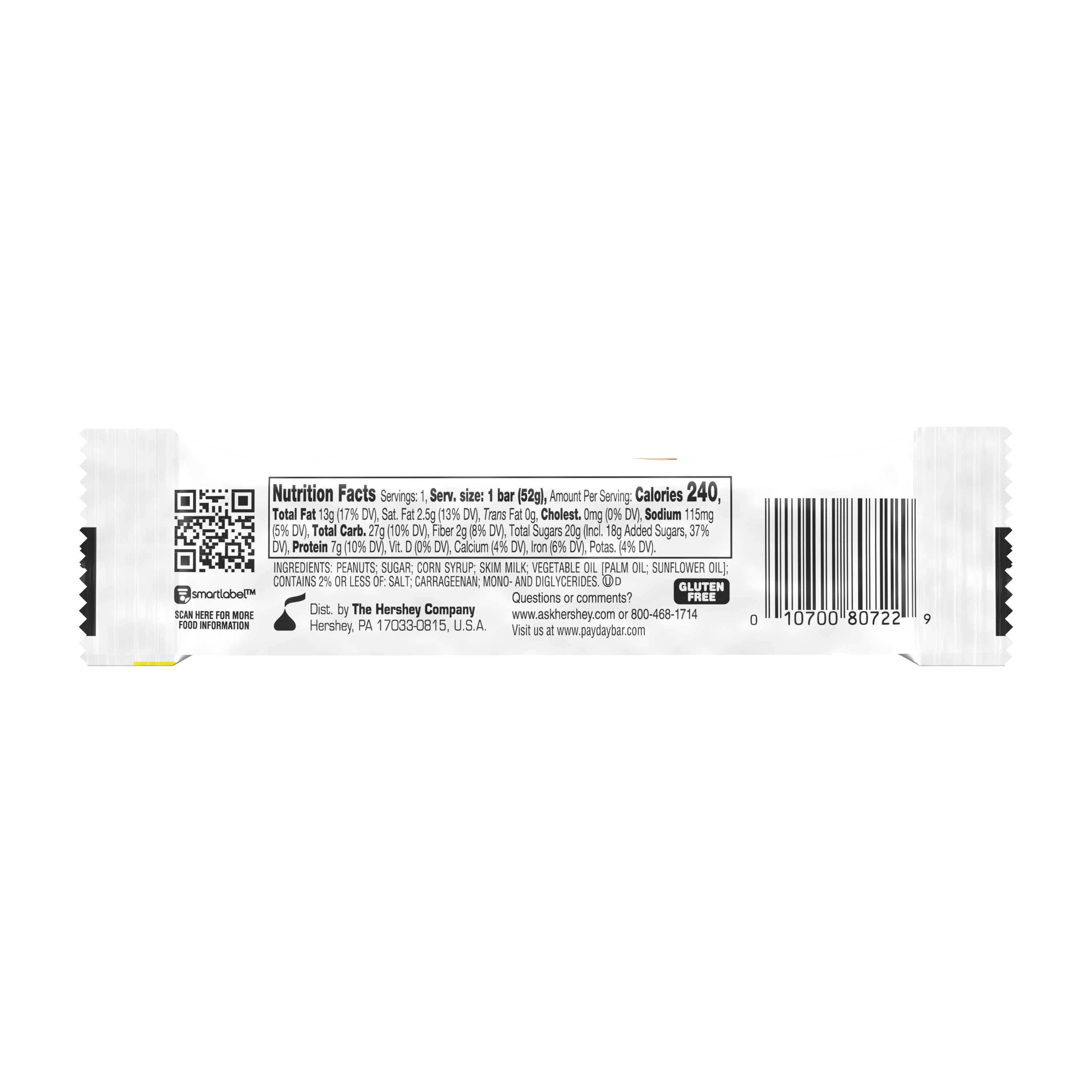 PAYDAY Peanut and Caramel Candy Bar, 1.85 oz - Back of Package
