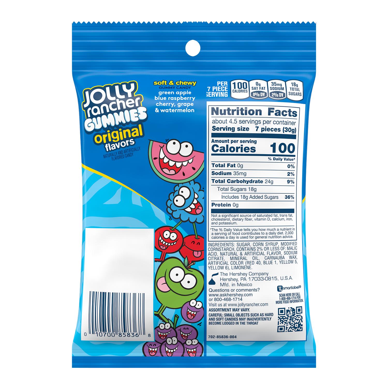 JOLLY RANCHER Original Flavors Gummies, 5 oz bag - Back of Package