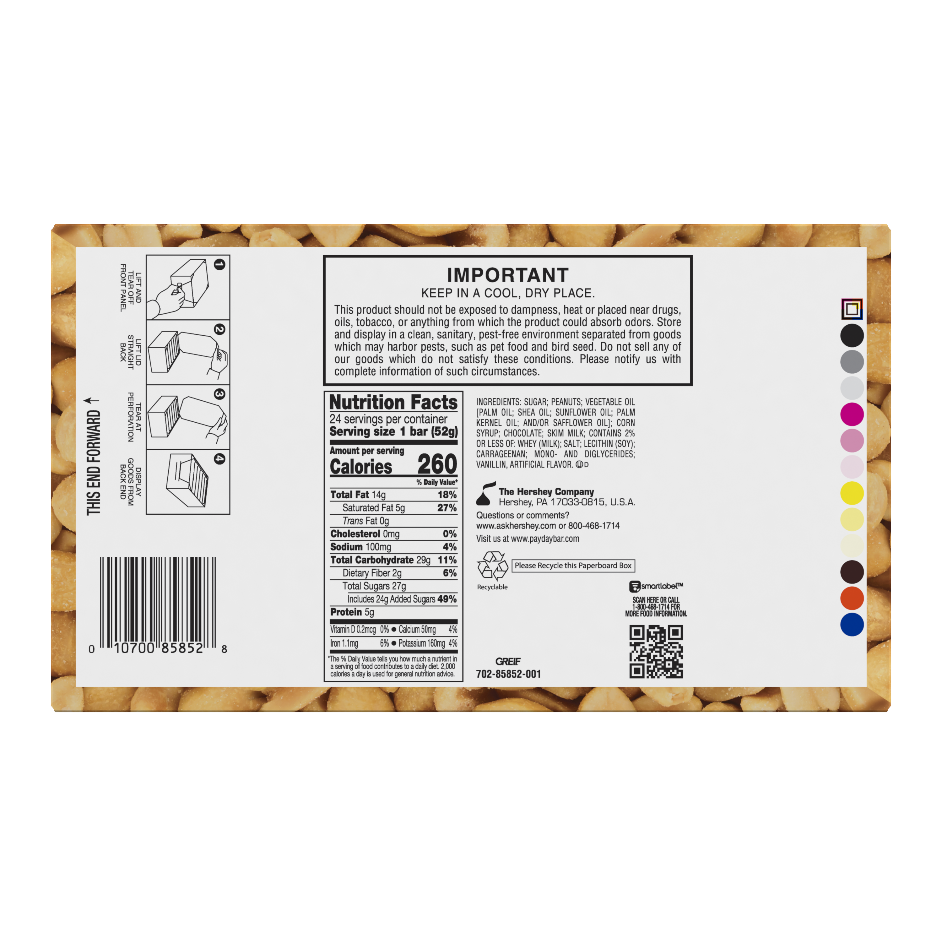 PAYDAY Chocolatey Covered Peanut and Caramel Candy Bars, 44.4 oz box, 24 pack - Bottom of Package