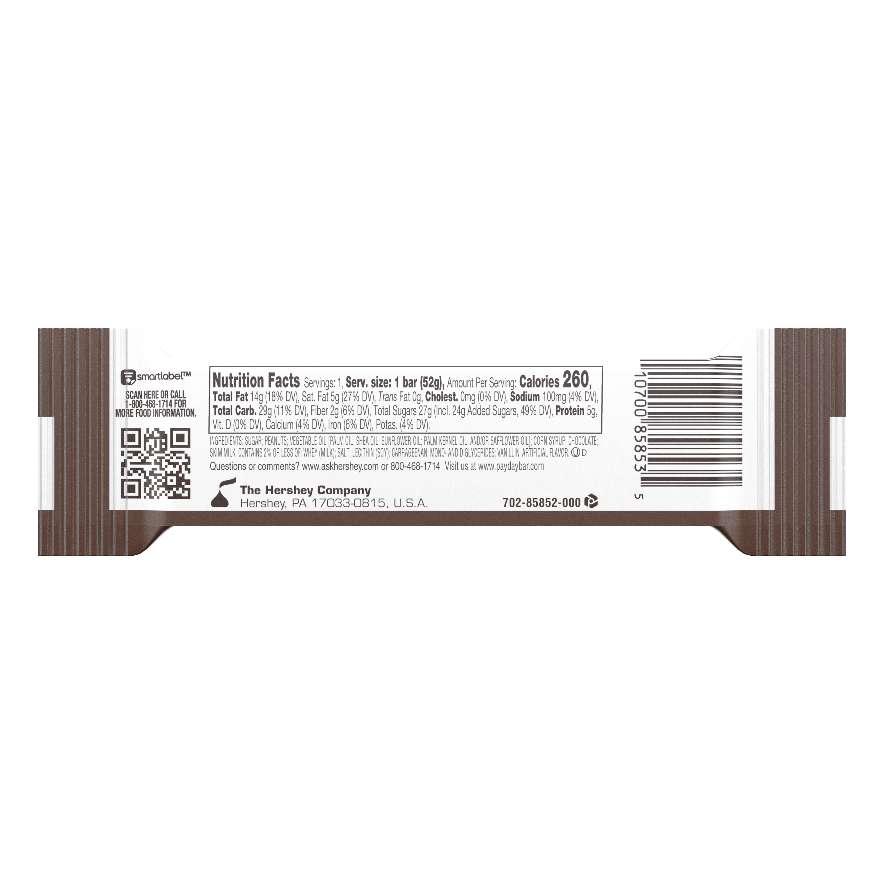 PAYDAY Chocolatey Covered Peanut and Caramel Candy Bar, 1.85 oz - Back of Package