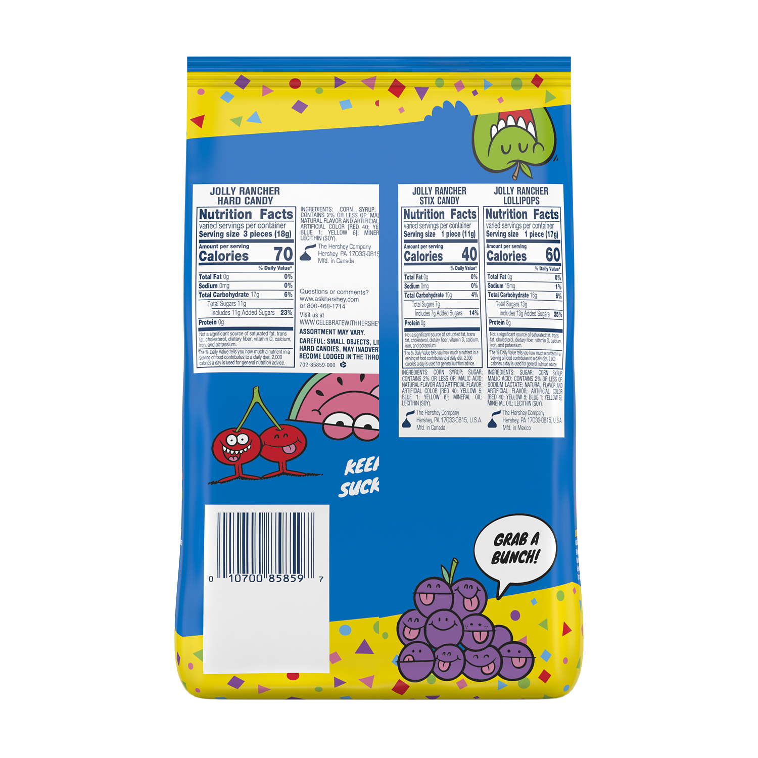 JOLLY RANCHER Candy Assortment, 46 oz bag - Back of Package