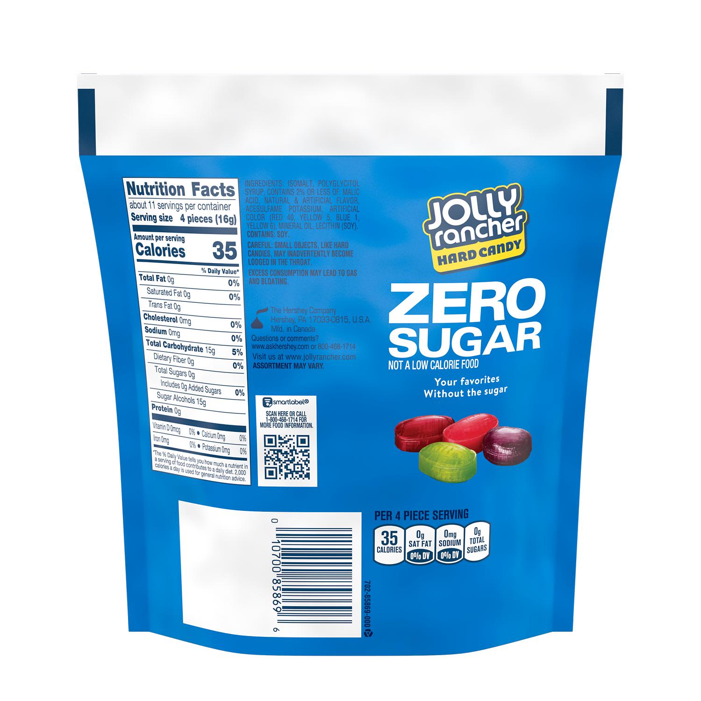 JOLLY RANCHER Zero Sugar Original Flavors Hard Candy, 6.1 oz bag - Back of Package