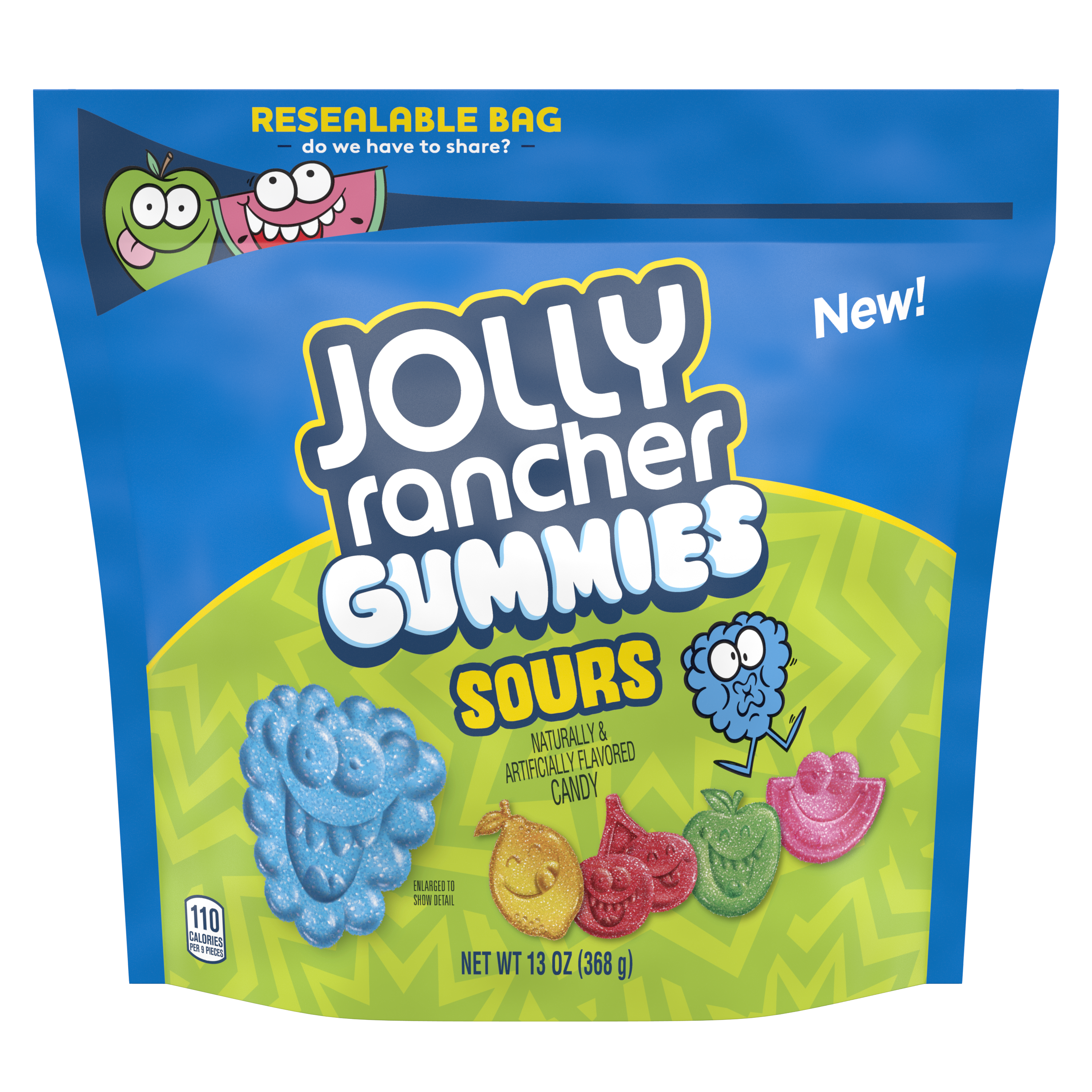 JOLLY RANCHER Gummies Sours, 13 oz bag - Front of Package