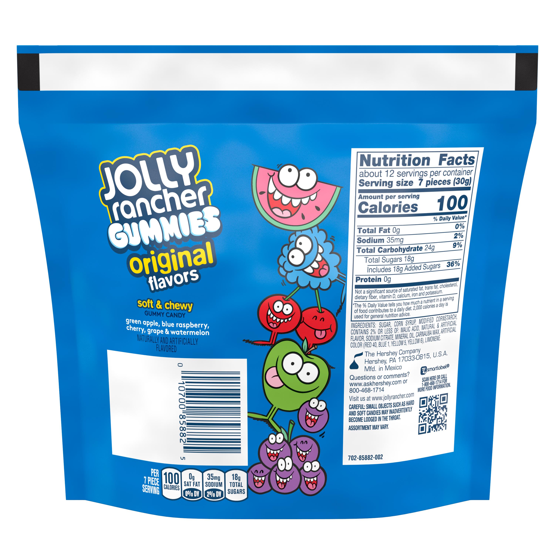 JOLLY RANCHER Gummies Original Flavors, 13 oz bag - Back of Package
