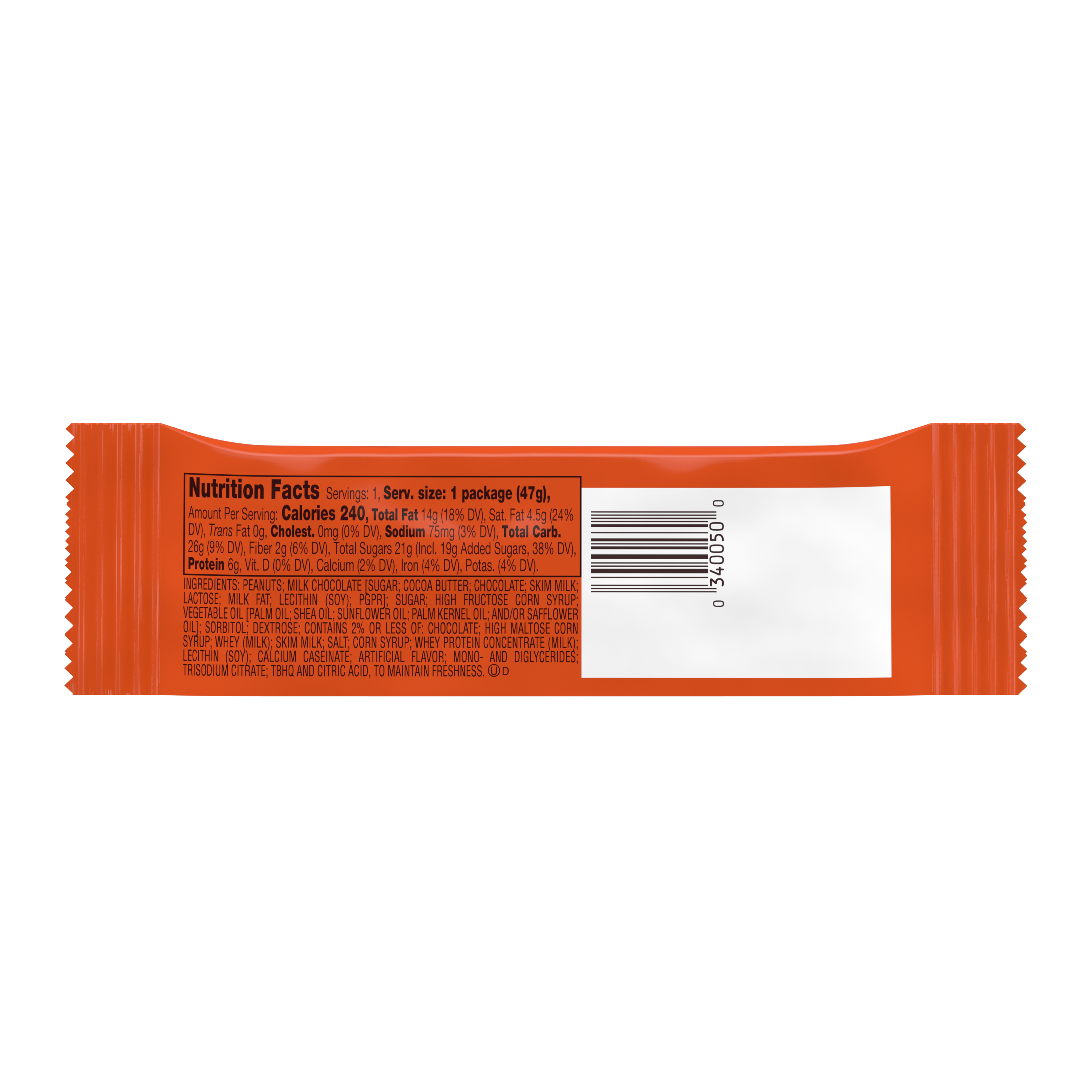 REESE'S NUTRAGEOUS Milk Chocolate Peanut Butter Candy Bar, 1.66 oz - Back of Package