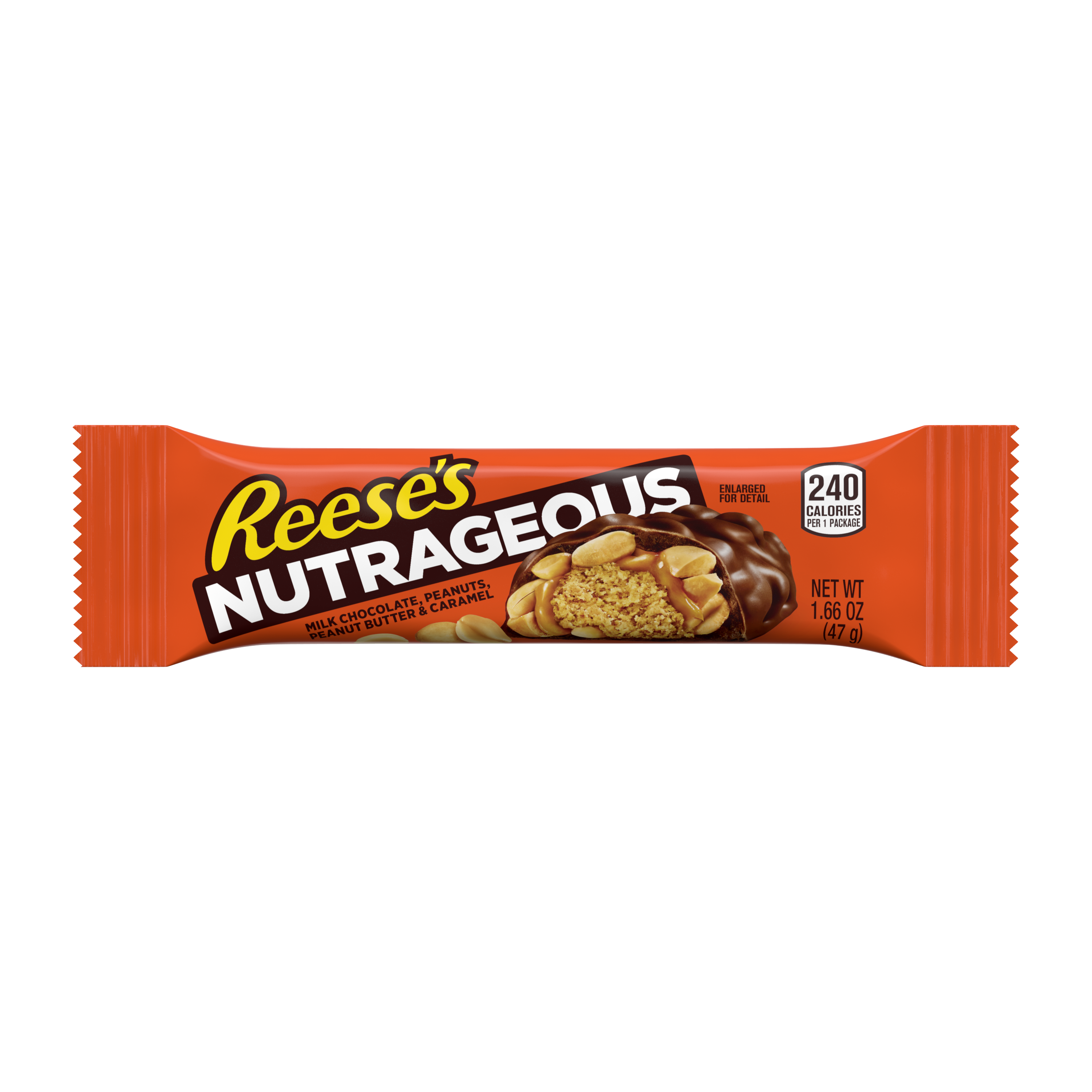 REESE'S NUTRAGEOUS Milk Chocolate Peanut Butter Candy Bar, 1.66 oz - Front of Package