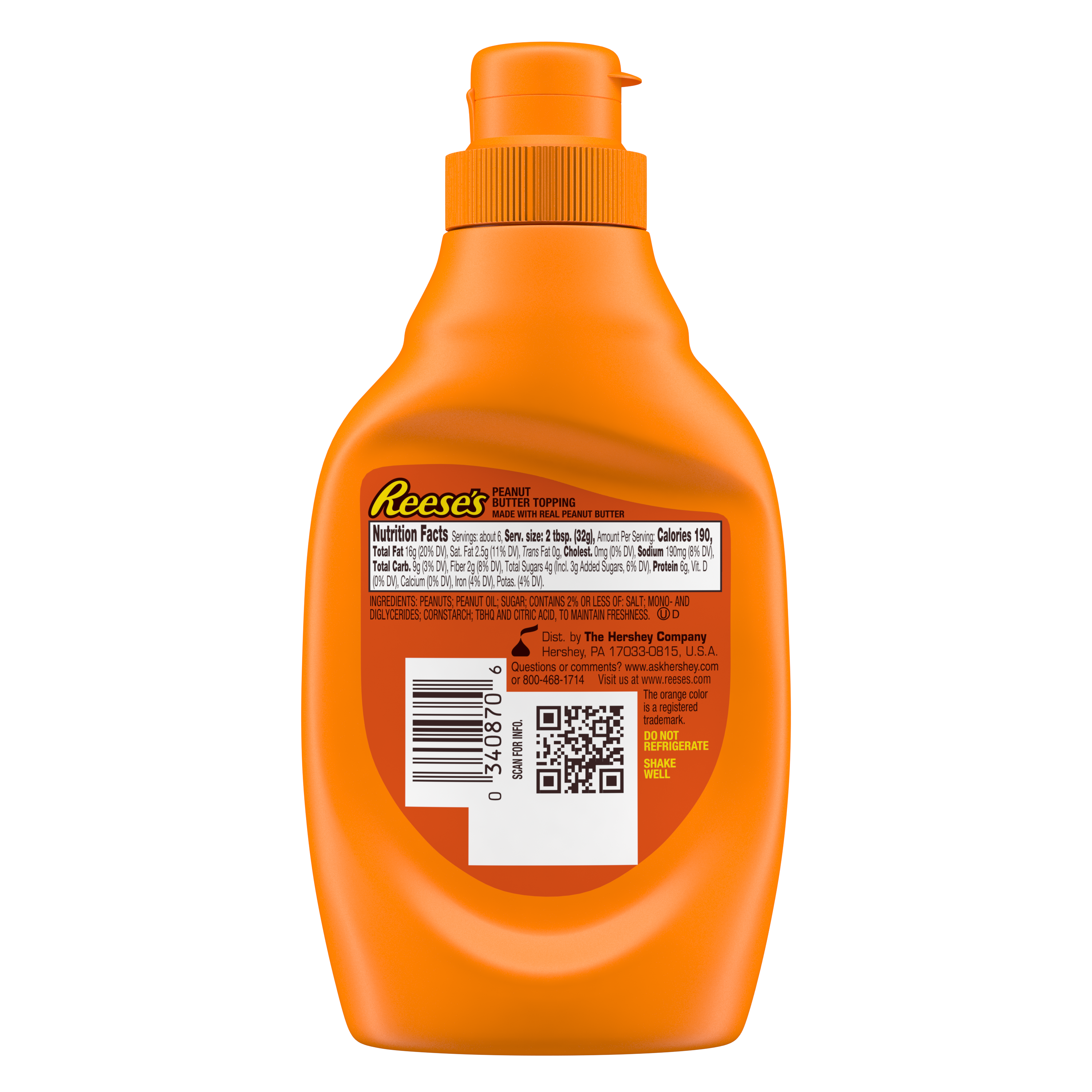 REESE'S Peanut Butter Topping, 7 oz bottle - Back of Package