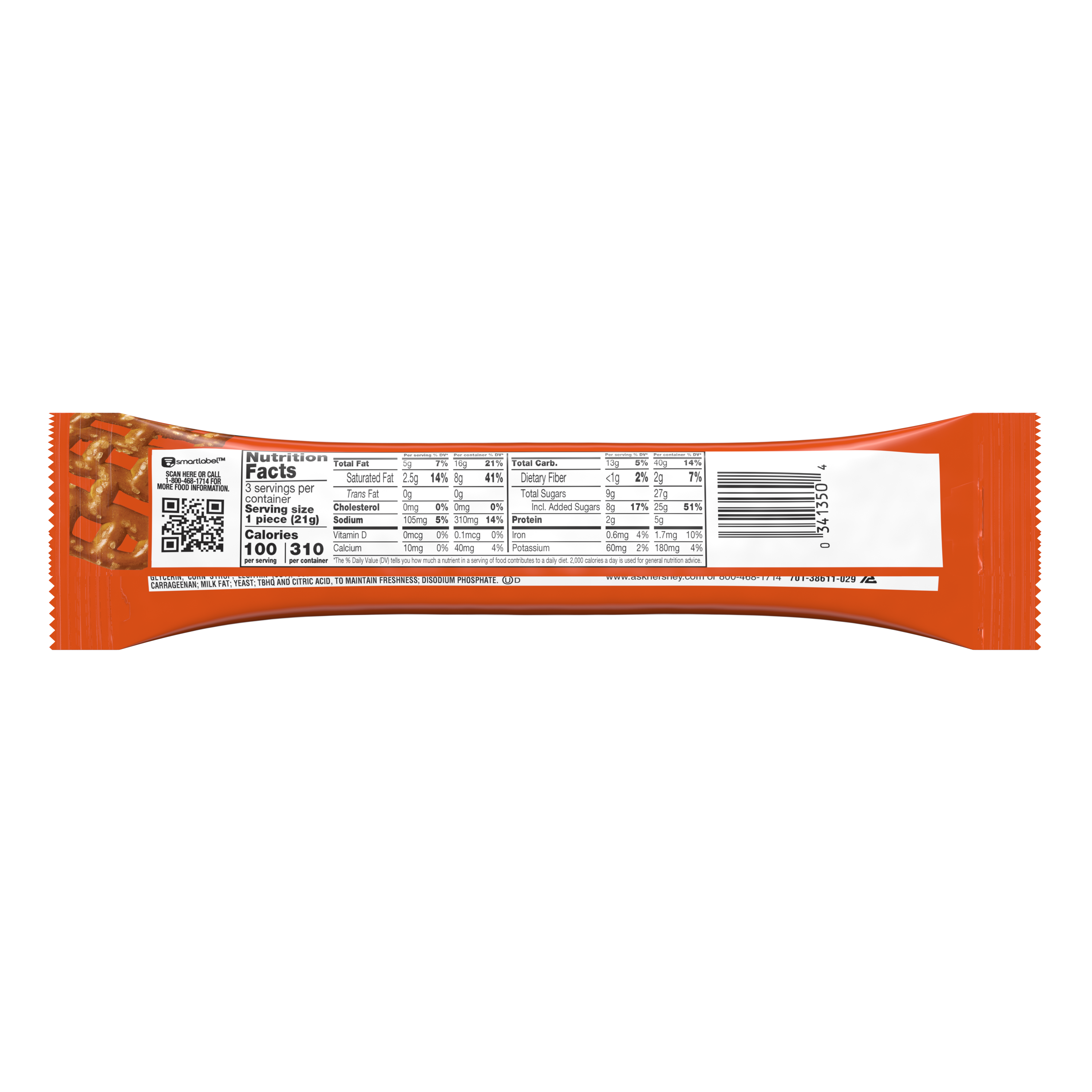 REESE'S TAKE5 Chocolate Peanut Butter King Size Candy Bar, 2.25 oz - Back of Package