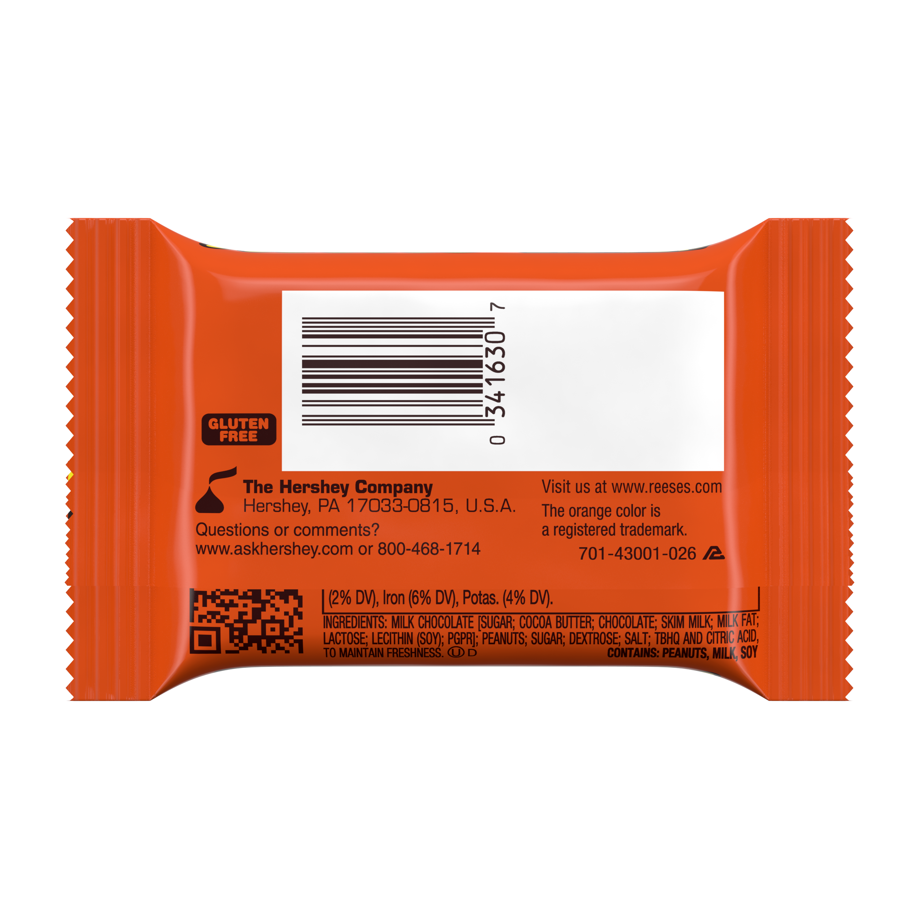 REESE'S Big Cup Milk Chocolate Peanut Butter Cup, 1.4 oz - Back of Package
