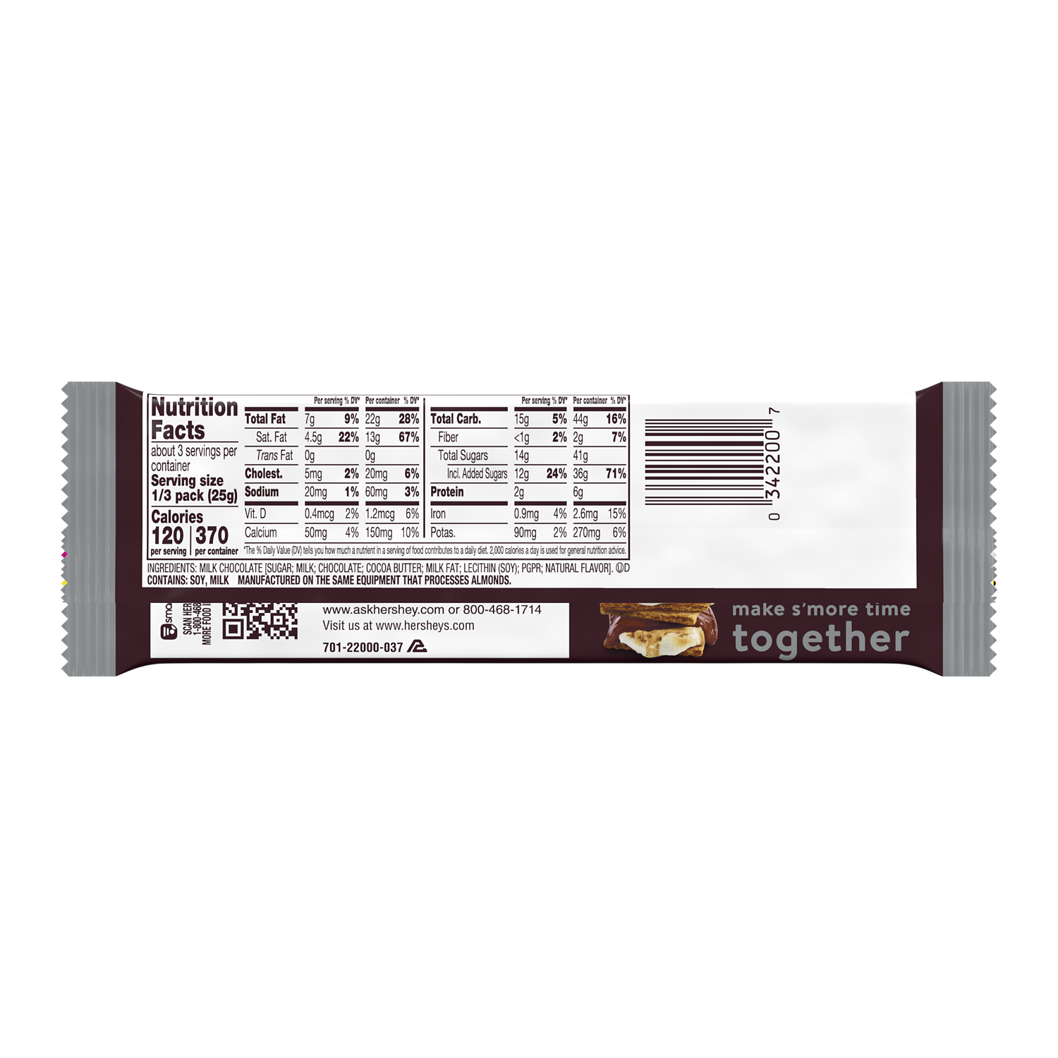 HERSHEY'S Milk Chocolate King Size Candy Bar, 2.6 oz - Back of Package