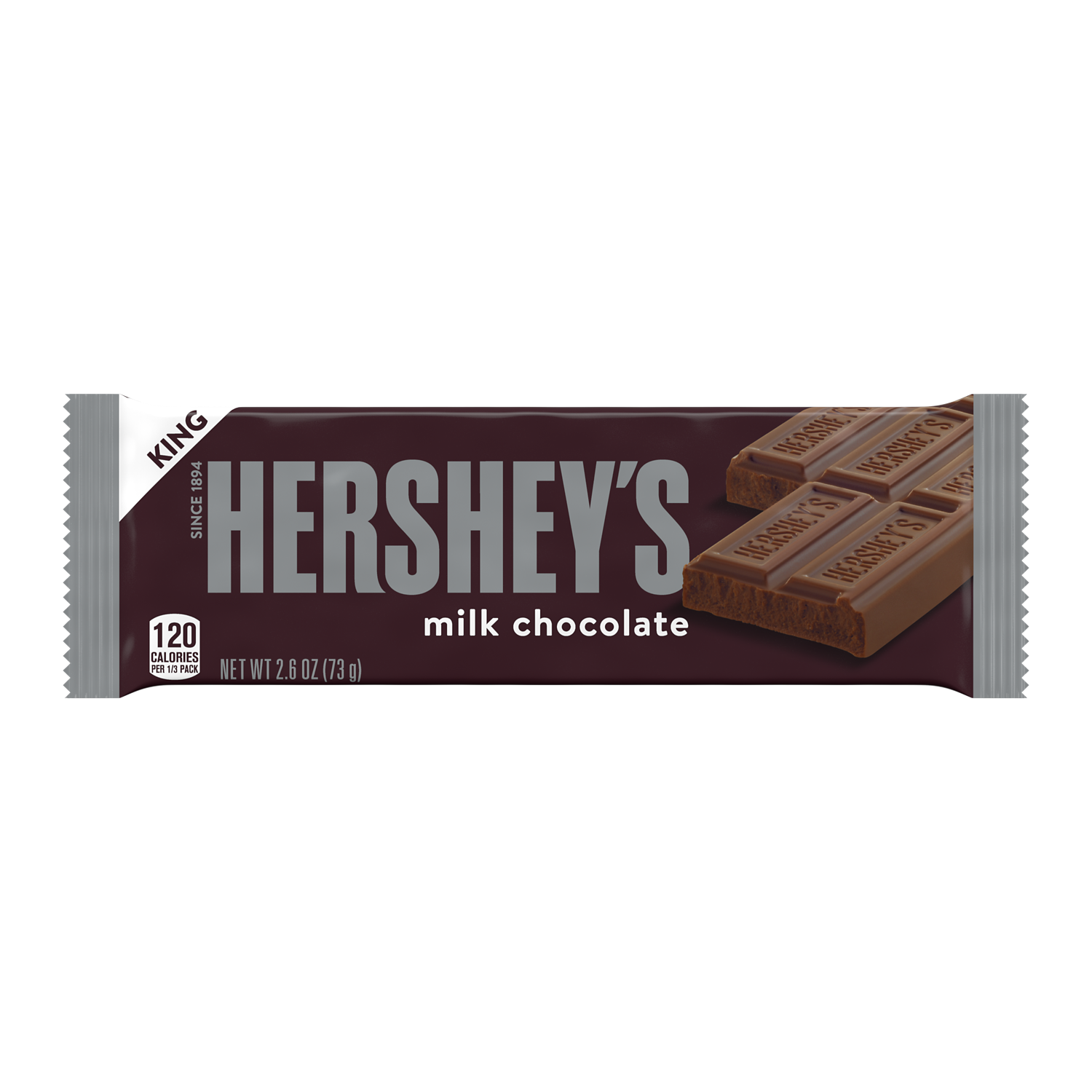 HERSHEY'S Milk Chocolate King Size Candy Bar, 2.6 oz - Front of Package