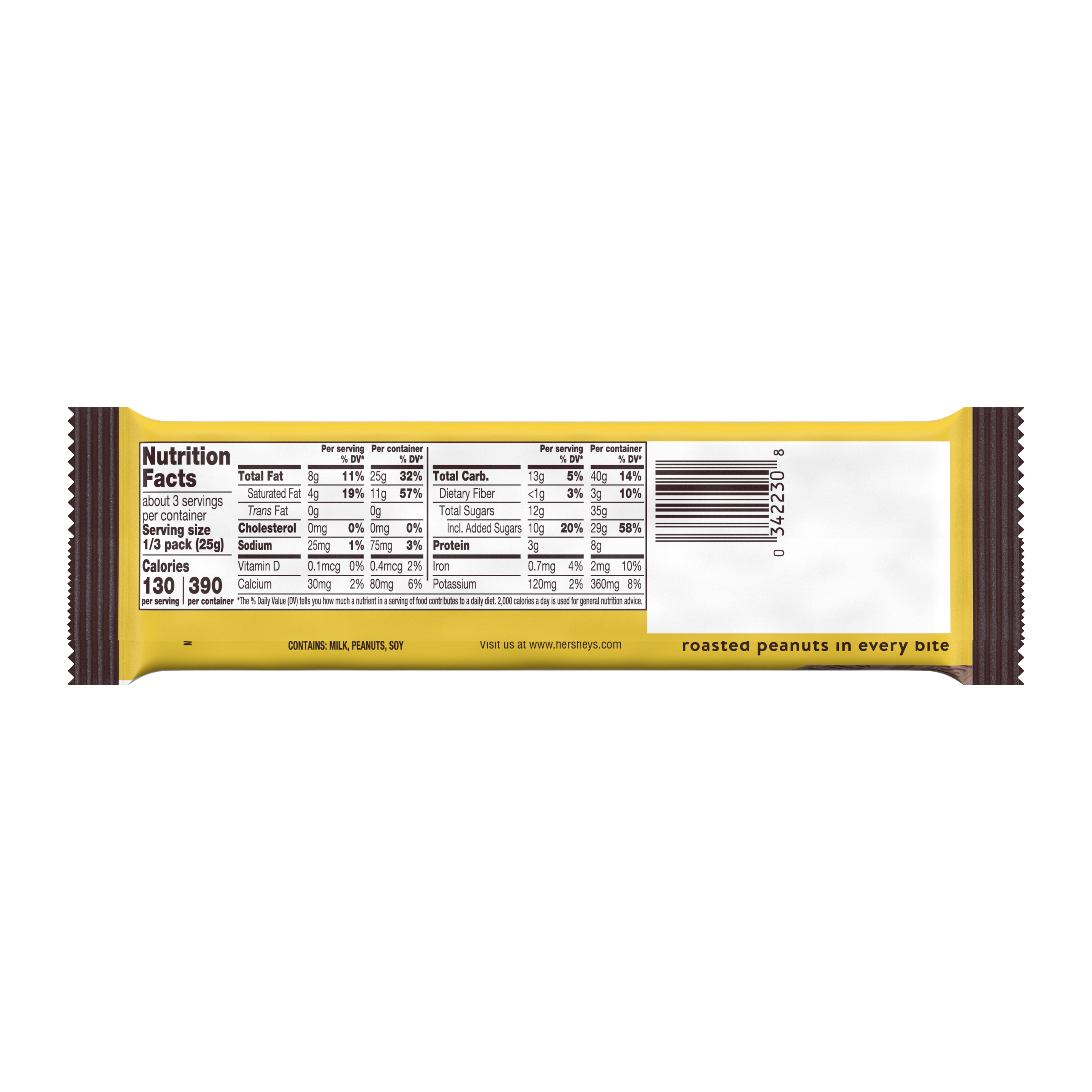 HERSHEY'S MR. GOODBAR Milk Chocolate with Peanuts King Size Candy Bar, 2.6 oz - Back of Package