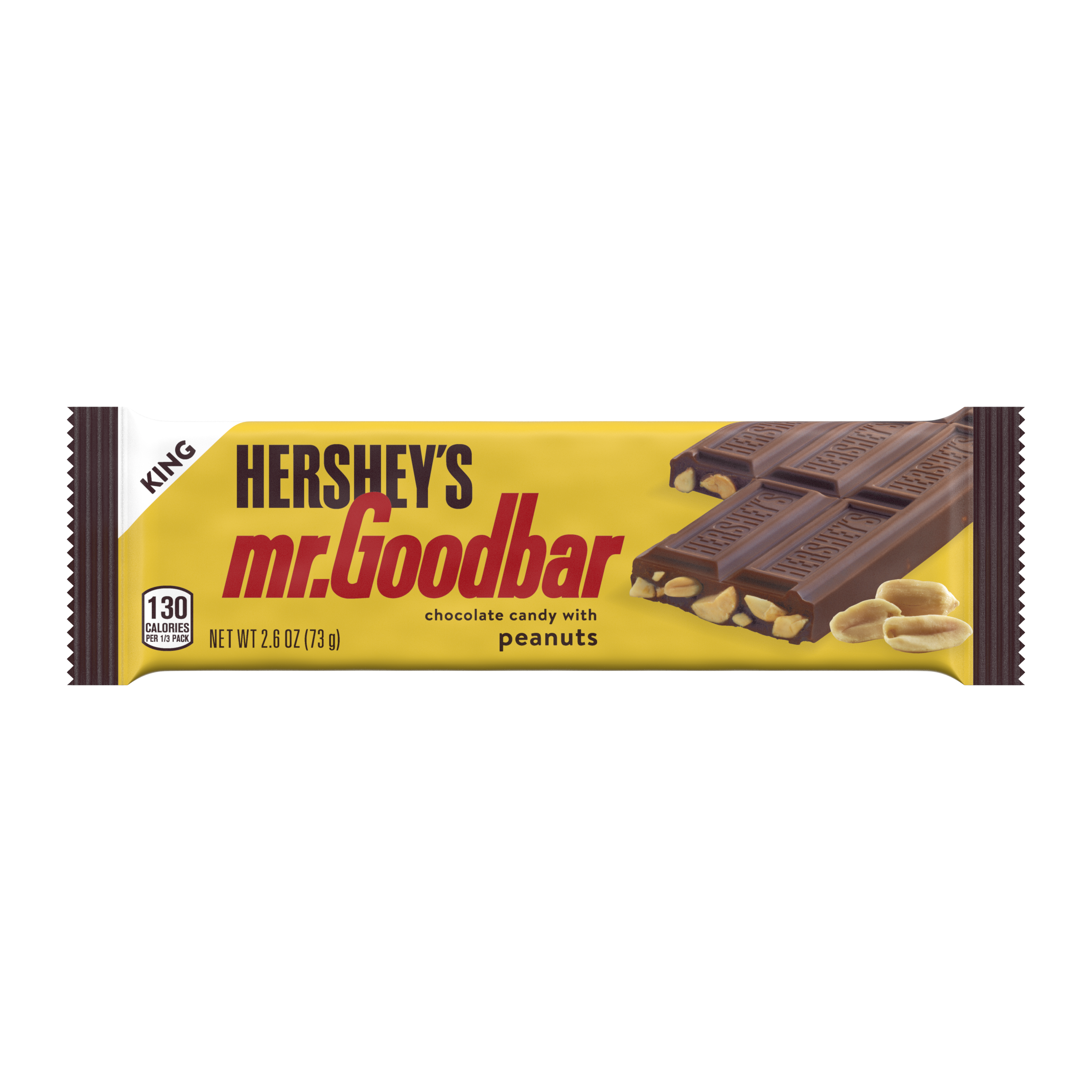HERSHEY'S MR. GOODBAR Milk Chocolate with Peanuts King Size Candy Bar, 2.6 oz - Front of Package