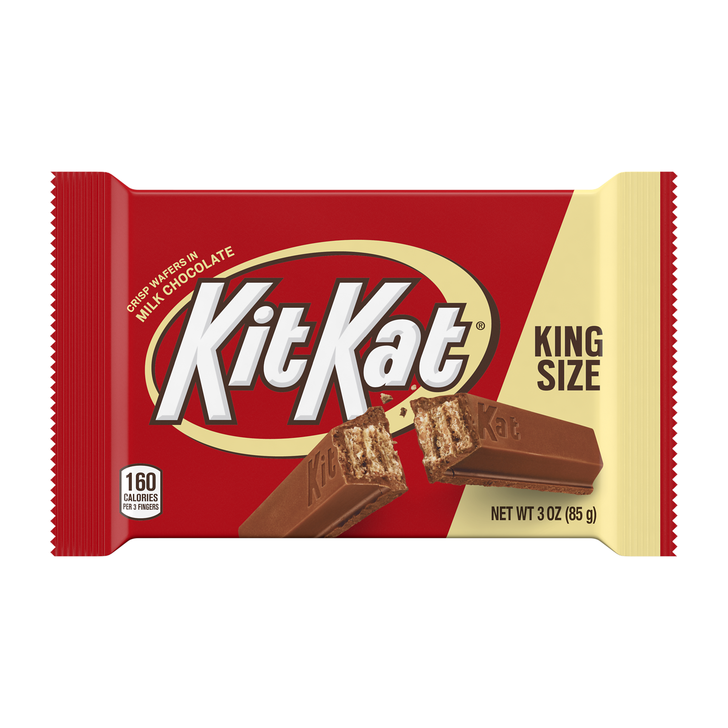 KIT KAT® Milk Chocolate King Size Candy Bar, 3 oz - Front of Package