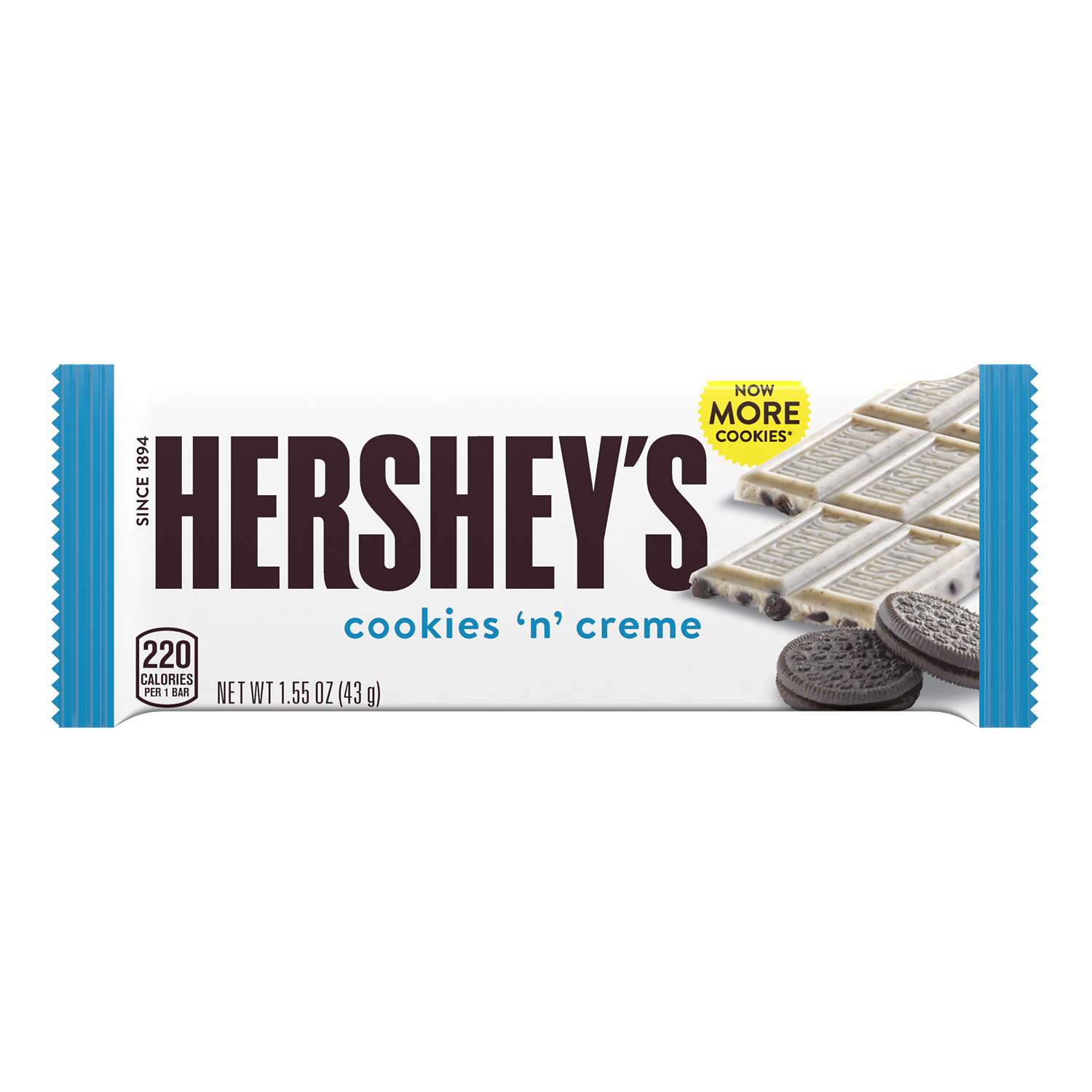 HERSHEY'S COOKIES 'N' CREME Candy Bar, 1.55 oz - Front of Package