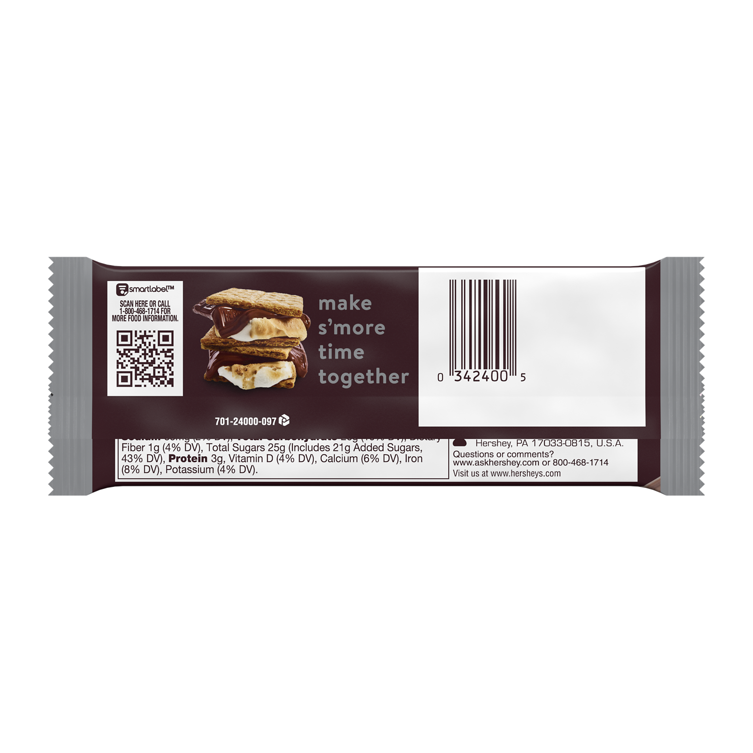 HERSHEY'S Milk Chocolate Candy Bar, 1.55 oz - Back of Package