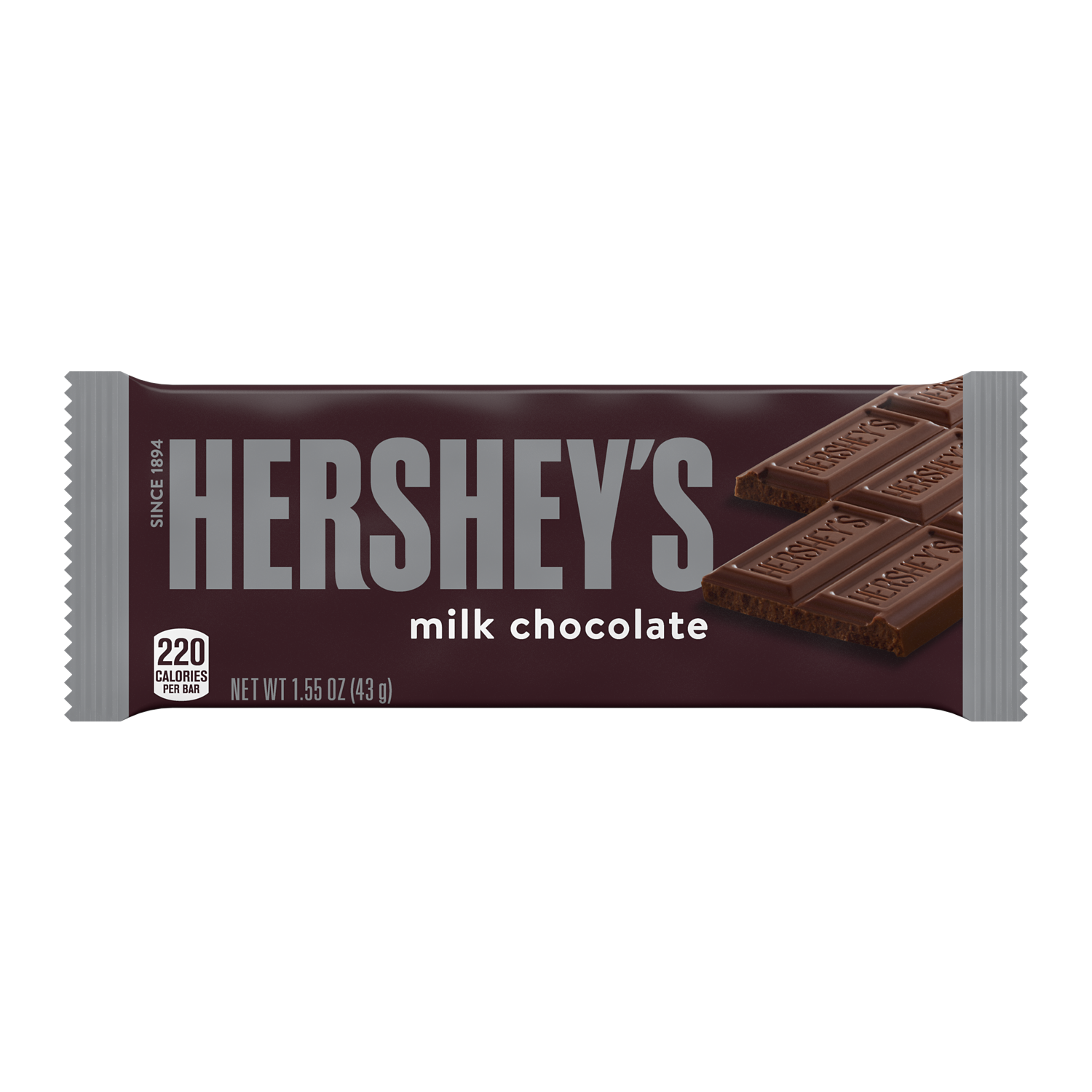 HERSHEY'S Milk Chocolate Candy Bar, 1.55 oz - Front of Package