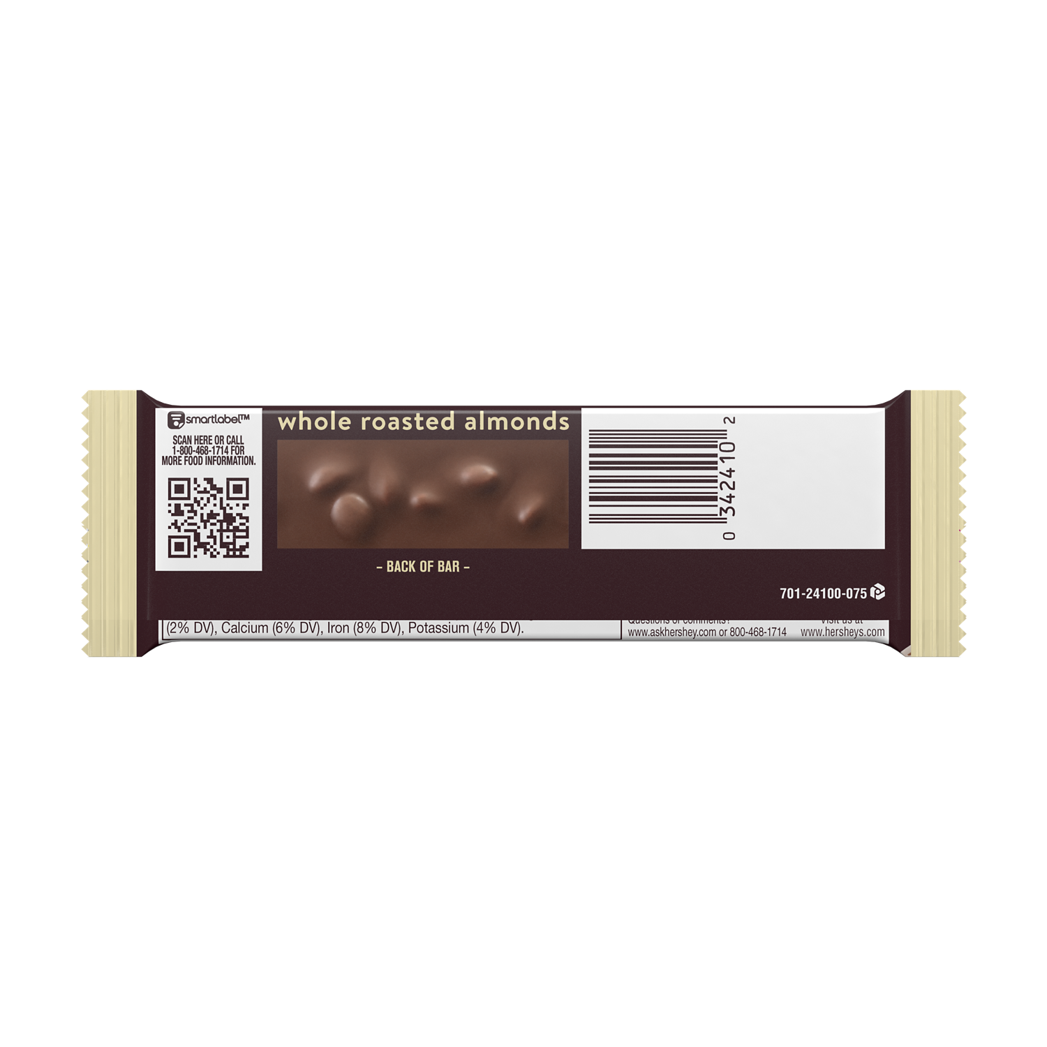 HERSHEY'S Milk Chocolate with Almonds Candy Bar, 1.45 oz - Back of Package