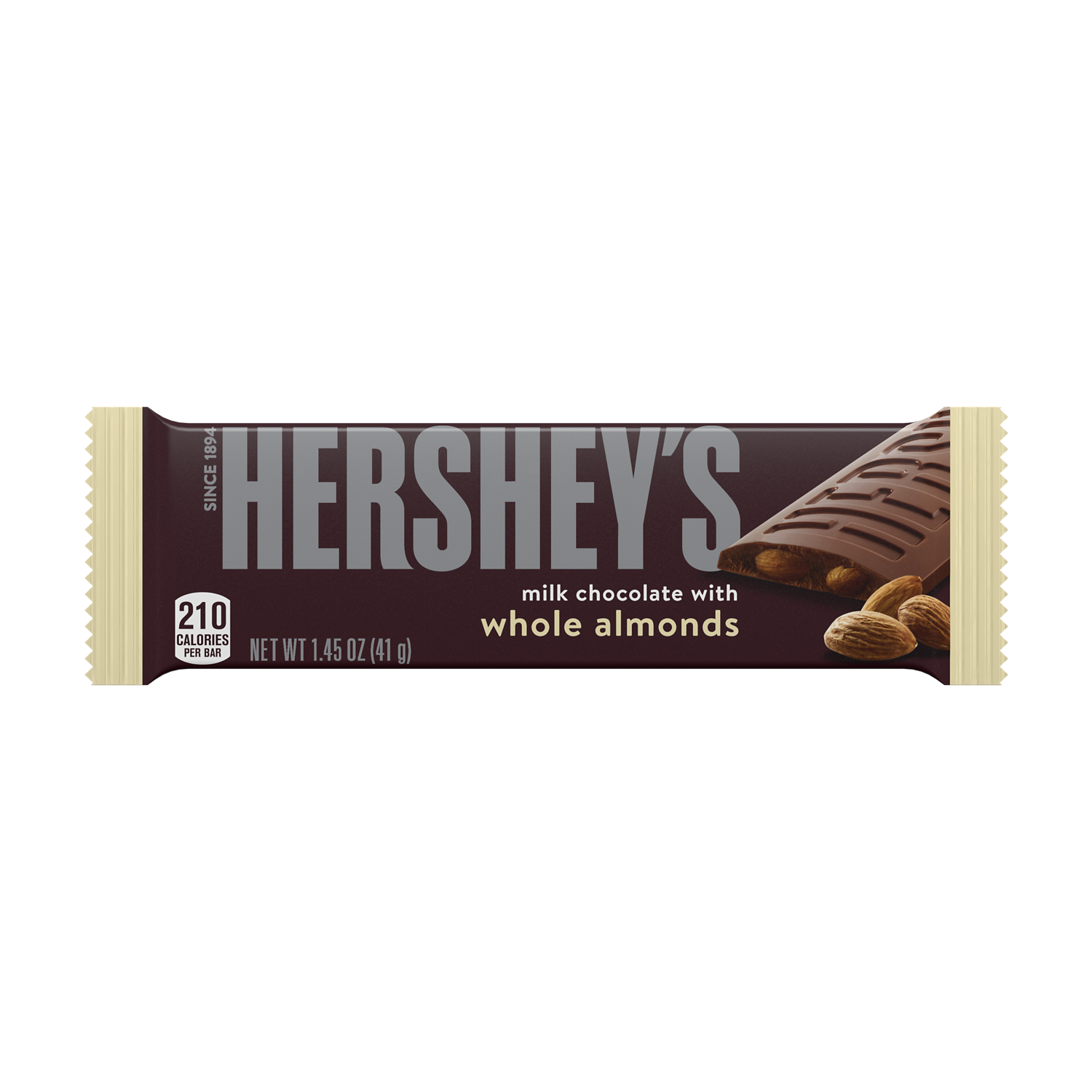 HERSHEY'S Milk Chocolate with Almonds Candy Bar, 1.45 oz - Front of Package