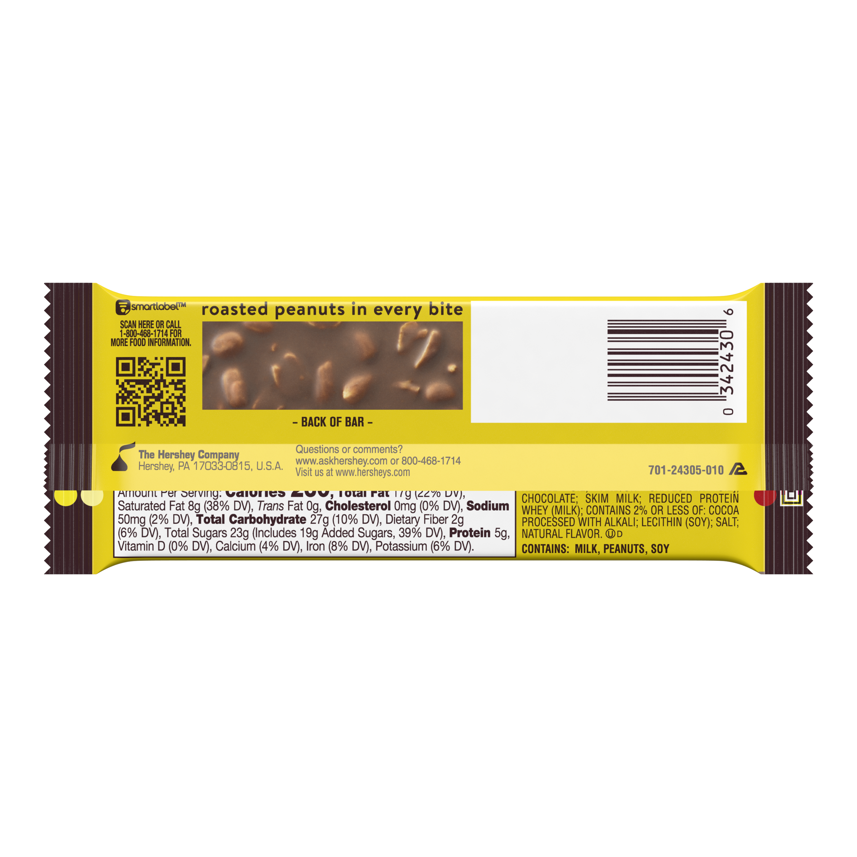 HERSHEY'S MR. GOODBAR Milk Chocolate with Peanuts Candy Bar, 1.75 oz - Back of Package