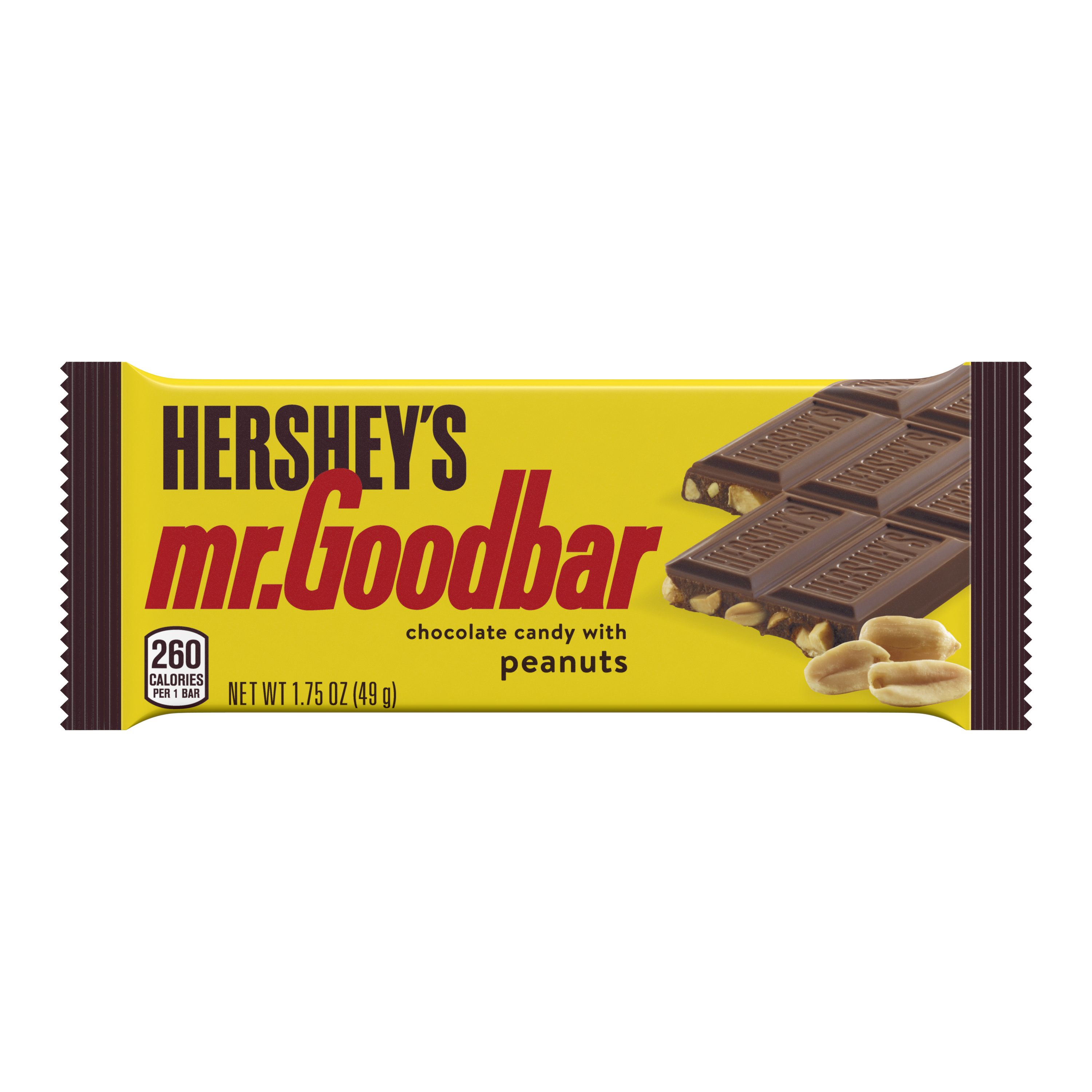 HERSHEY'S MR. GOODBAR Milk Chocolate with Peanuts Candy Bar, 1.75 oz - Front of Package