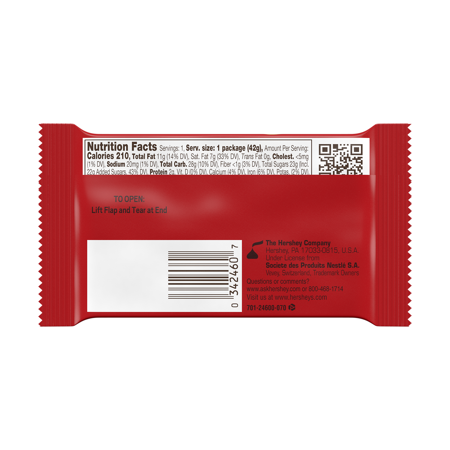 KIT KAT® Milk Chocolate Candy Bar, 1.5 oz - Back of Package
