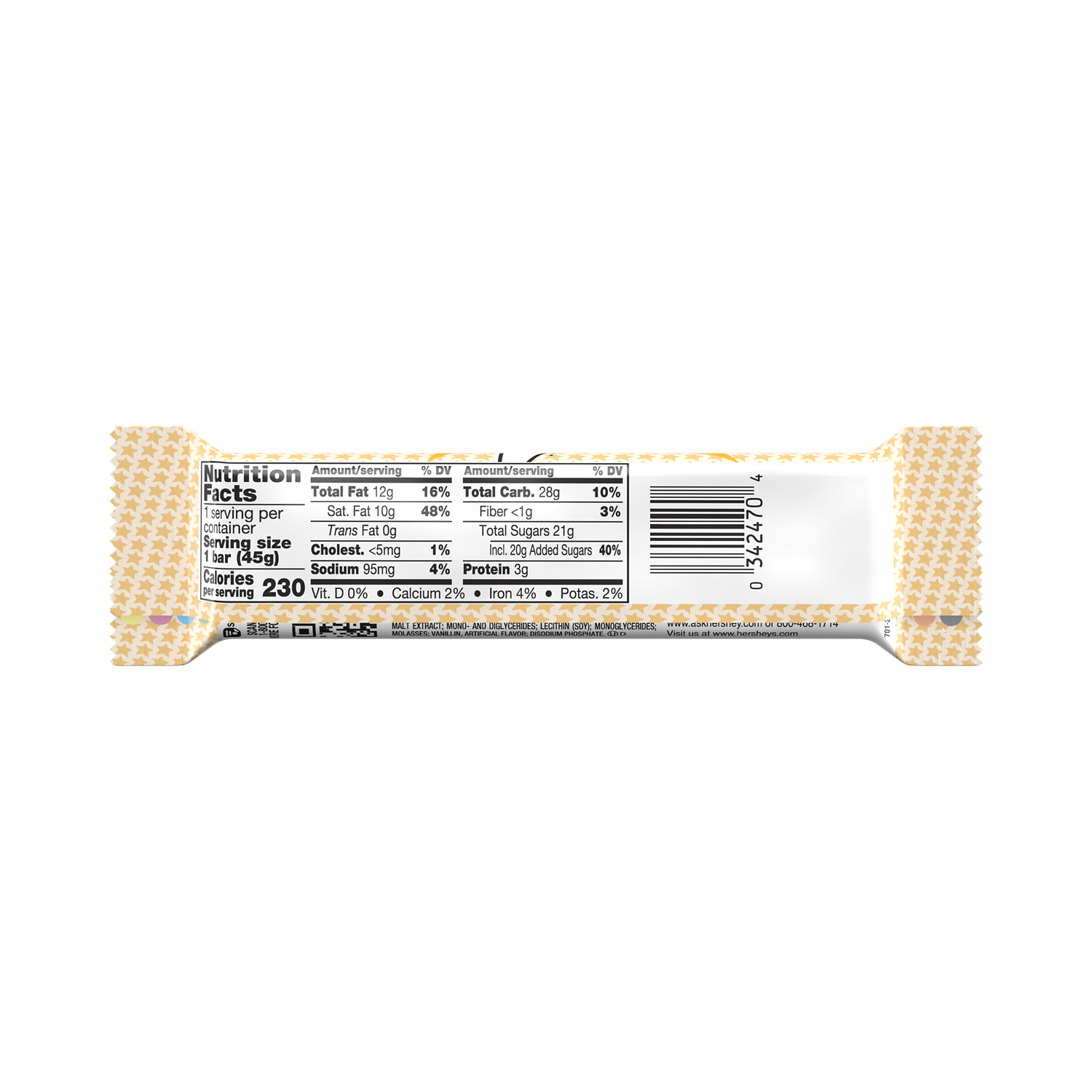 WHATCHAMACALLIT Candy Bar, 1.6 oz - Back of Package