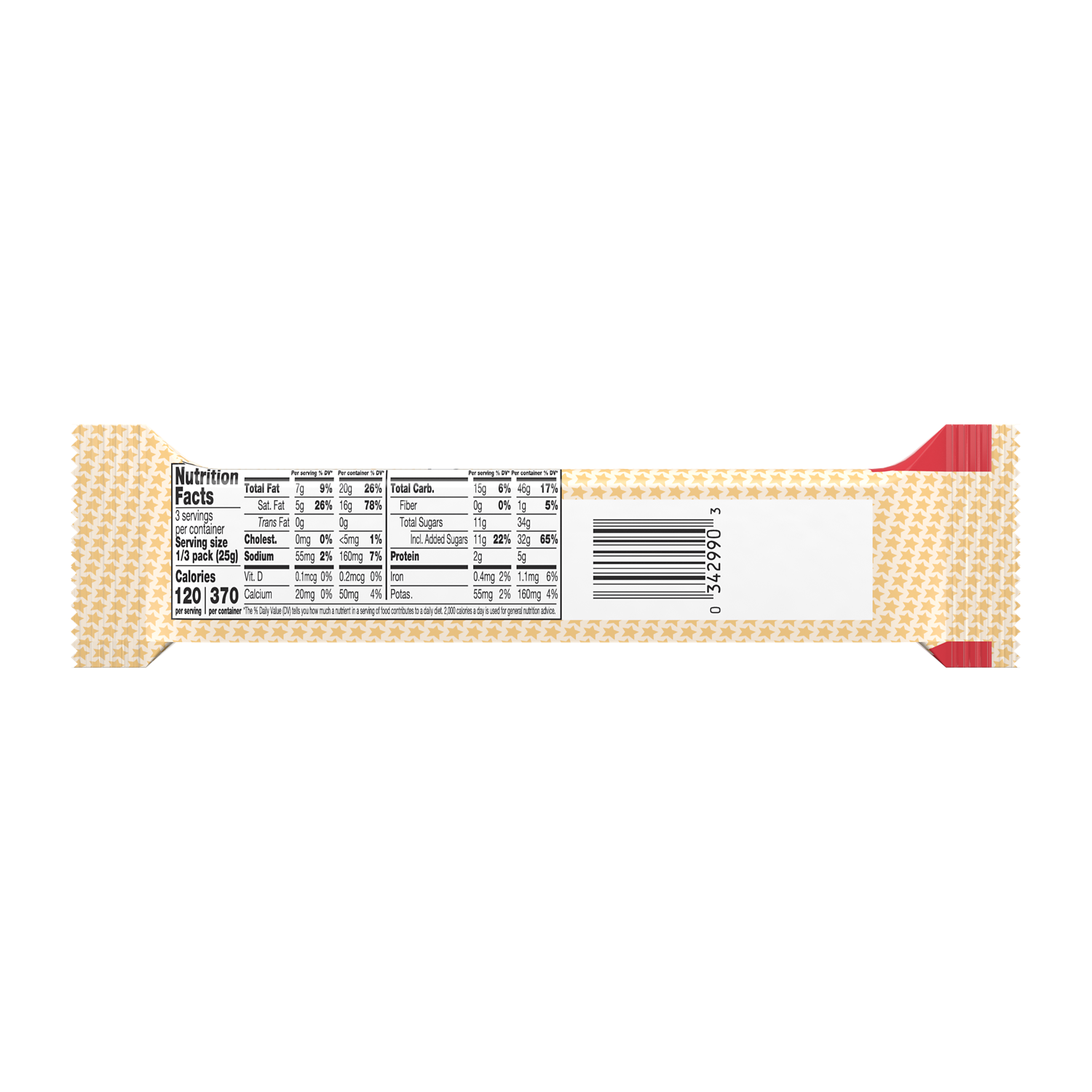 WHATCHAMACALLIT King Size Candy Bar, 2.6 oz - Back of Package