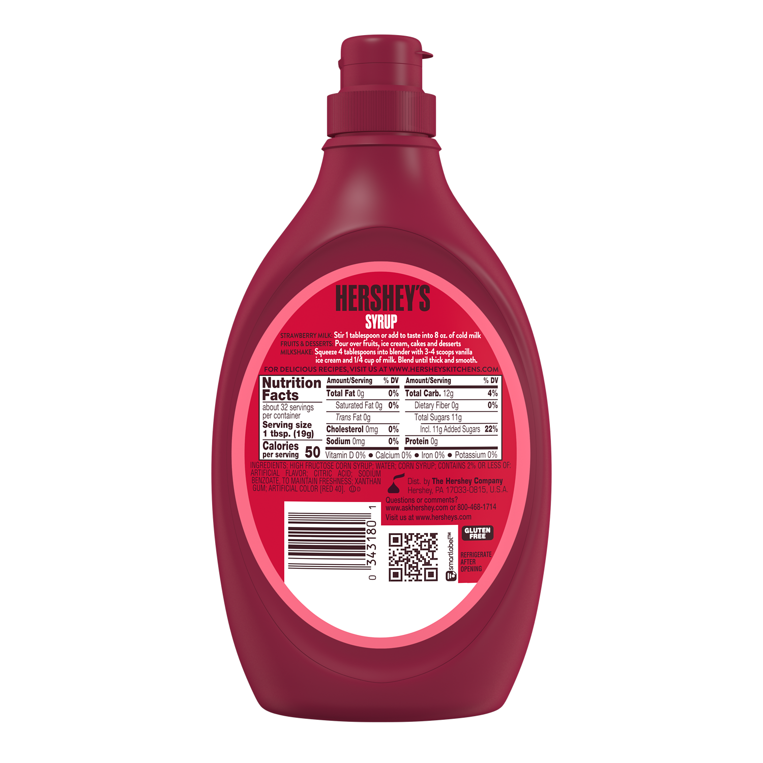 HERSHEY'S Strawberry Flavored Syrup, 22 oz bottle - Back of Package