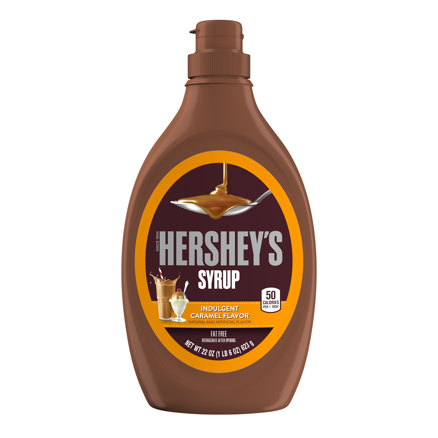 HERSHEY'S Caramel Syrup, 22 oz bottle - Front of Package