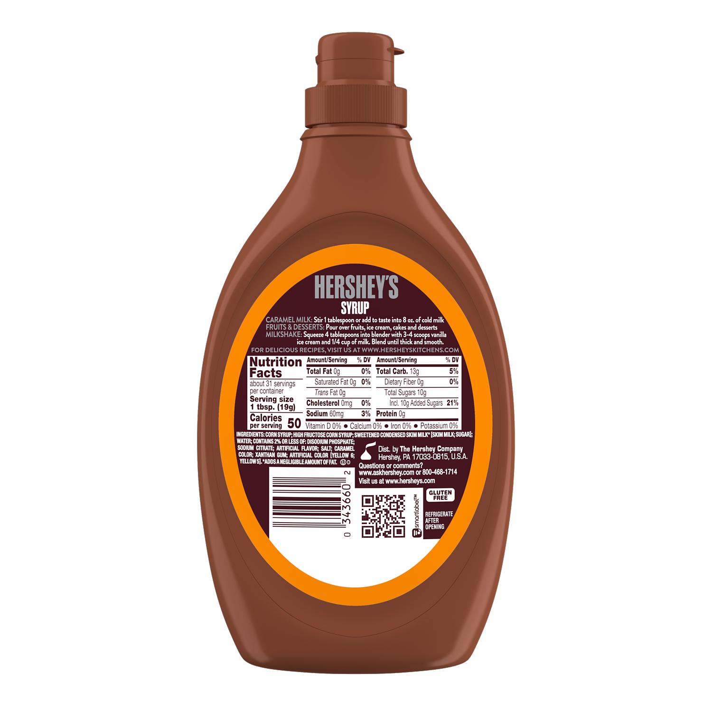 HERSHEY'S Caramel Syrup, 22 oz bottle - Back of Package