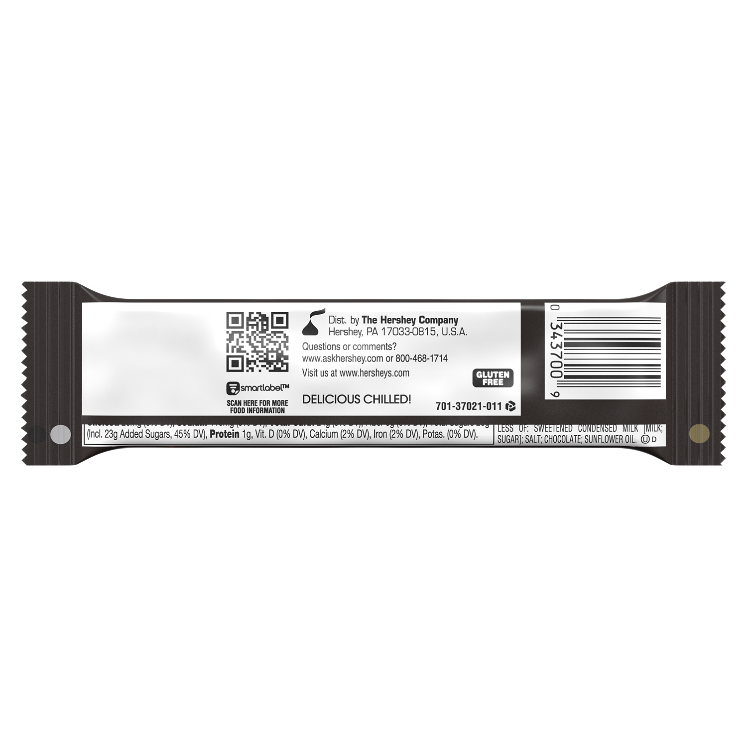 SKOR Milk Chocolate with Crisp Butter Toffee Candy Bar, 1.4 oz - Back of Package