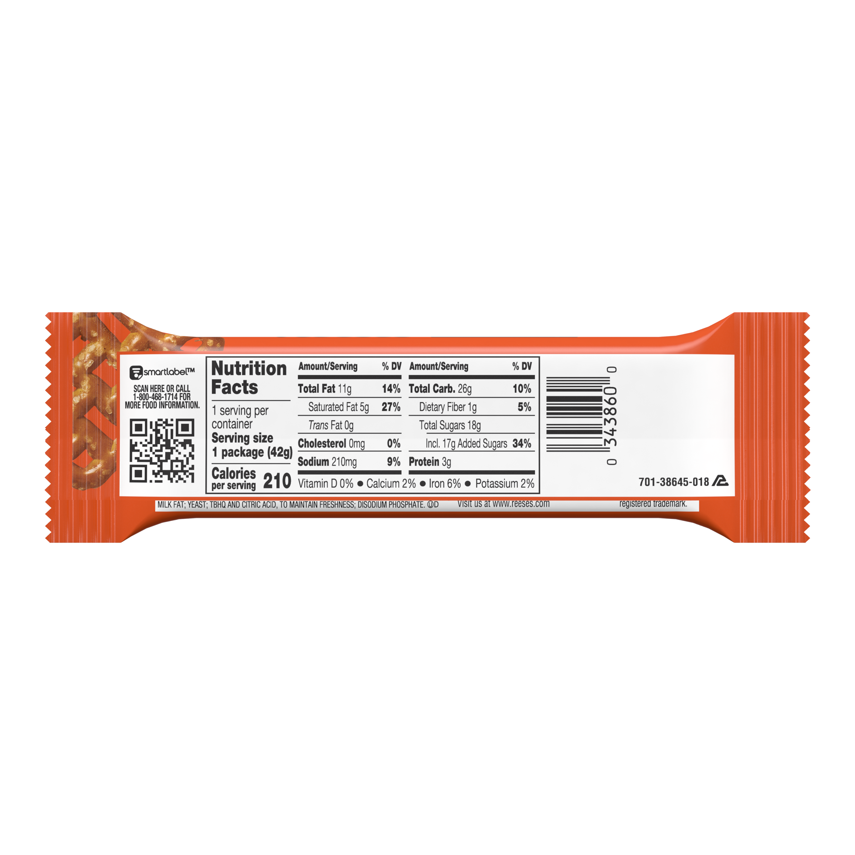 REESE'S TAKE5 Chocolate Peanut Butter Candy Bar, 1.5 oz - Back of Package