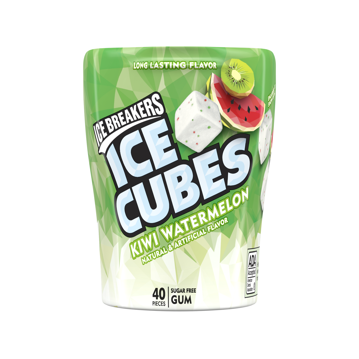 ICE BREAKERS ICE CUBES Kiwi Watermelon Sugar Free Gum, 3.24 oz bottle, 40 pieces - Front of Package