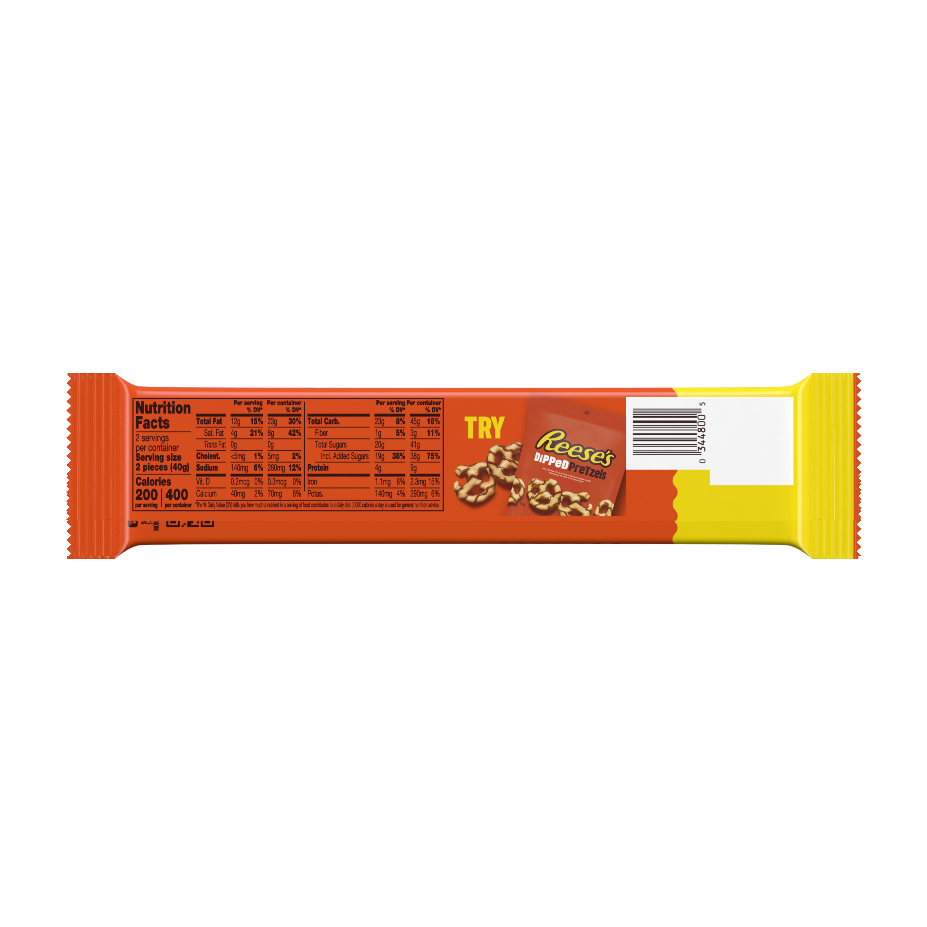 REESE'S Milk Chocolate King Size Peanut Butter Cups, 2.8 oz - Back of Package