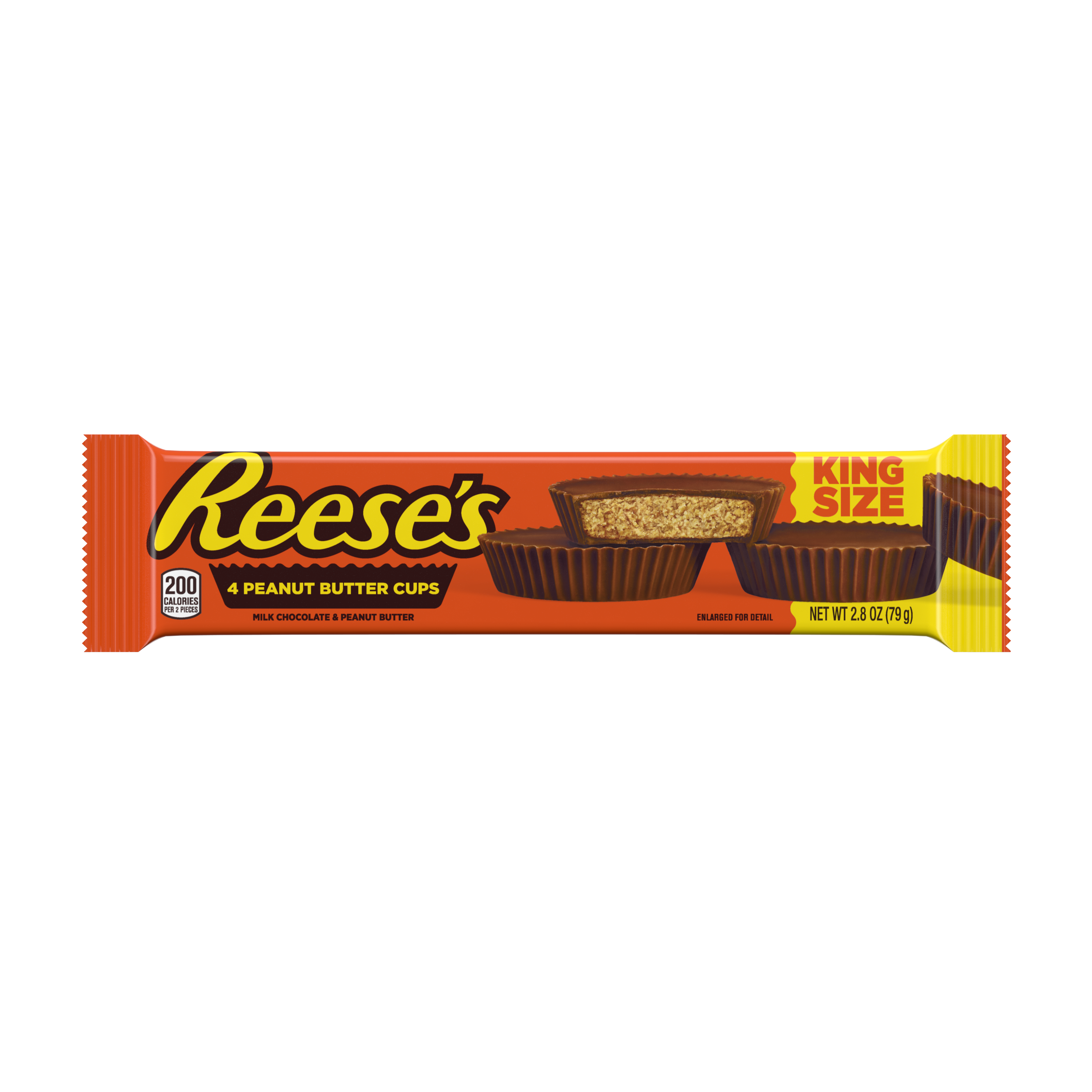 REESE'S Milk Chocolate King Size Peanut Butter Cups, 2.8 oz - Front of Package