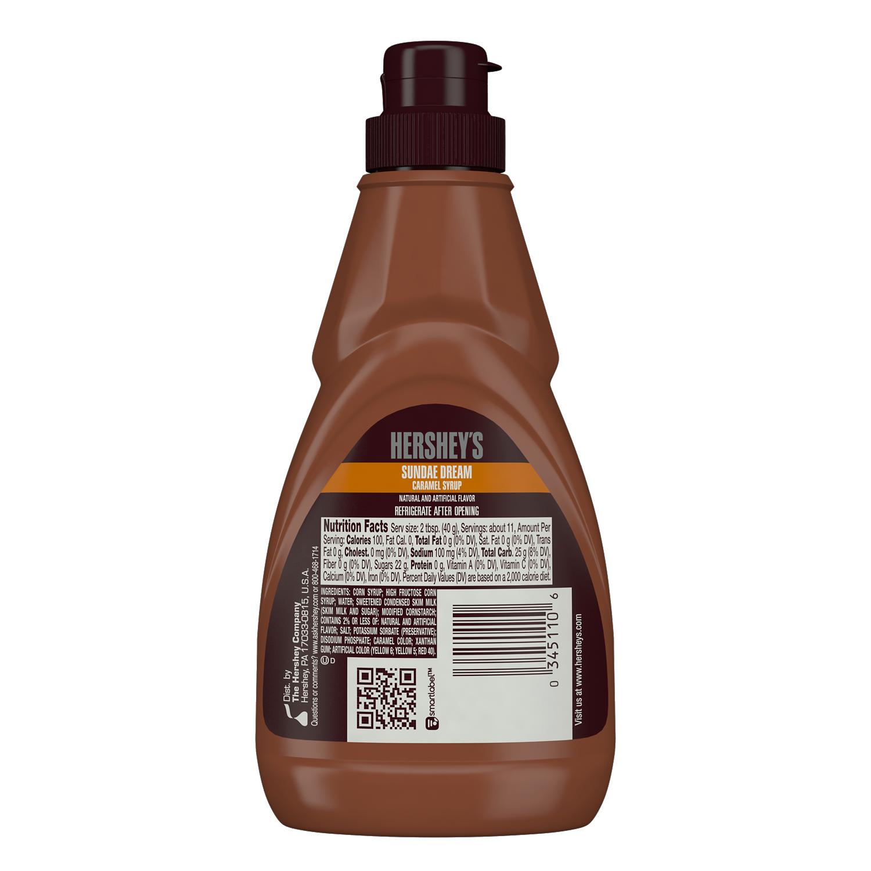 HERSHEY'S SUNDAE DREAM Caramel Syrup, 15 oz bottle - Back of Package