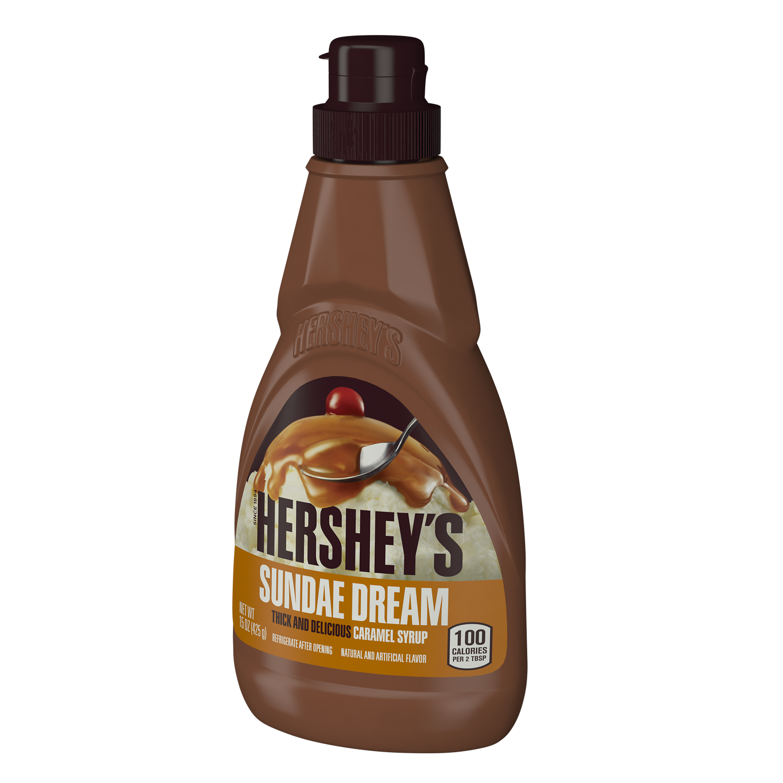 HERSHEY'S SUNDAE DREAM Caramel Syrup, 15 oz bottle - Right Side of Package