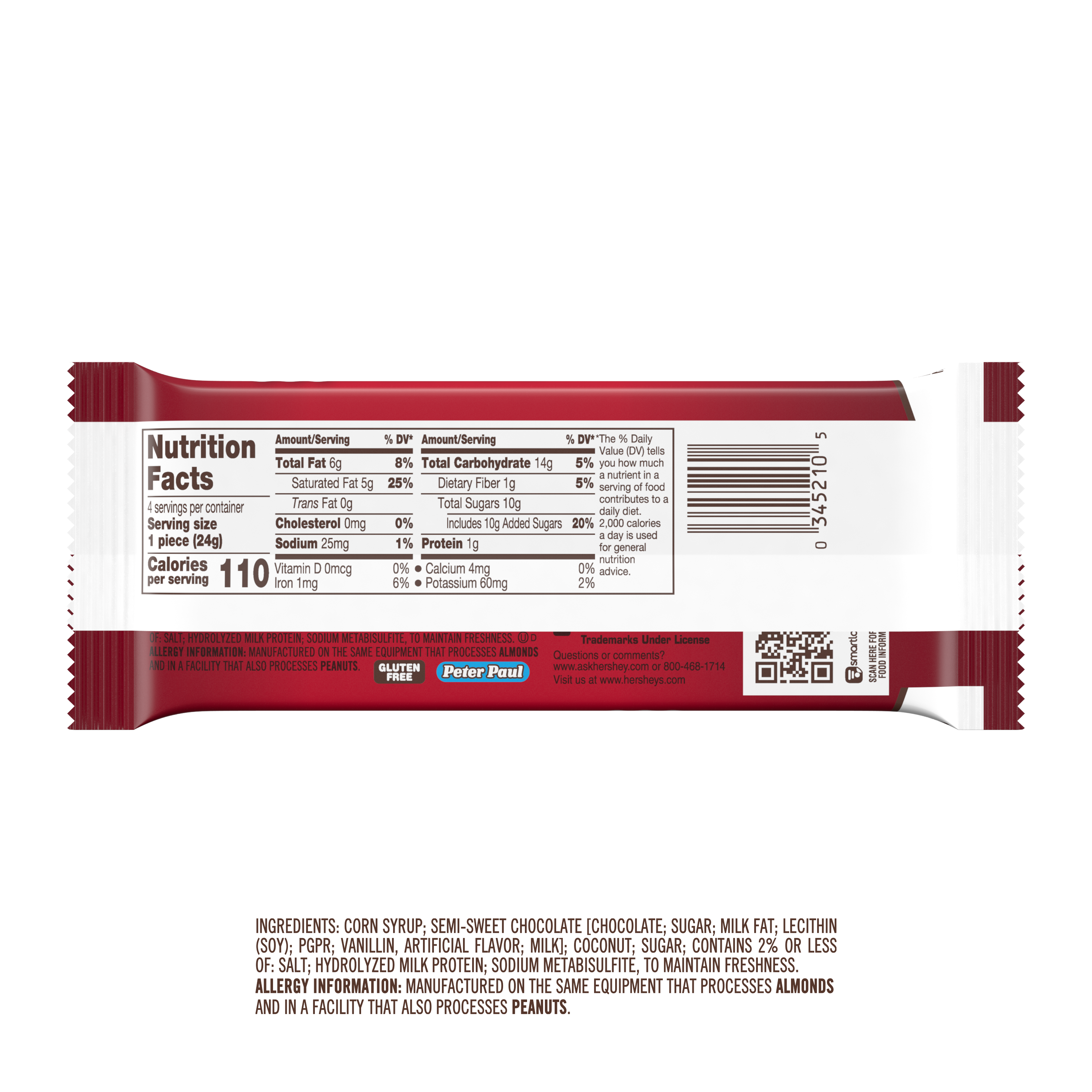 MOUNDS Dark Chocolate and Coconut King Size Candy Bar, 3.5 oz, 4 pieces - Back of Package