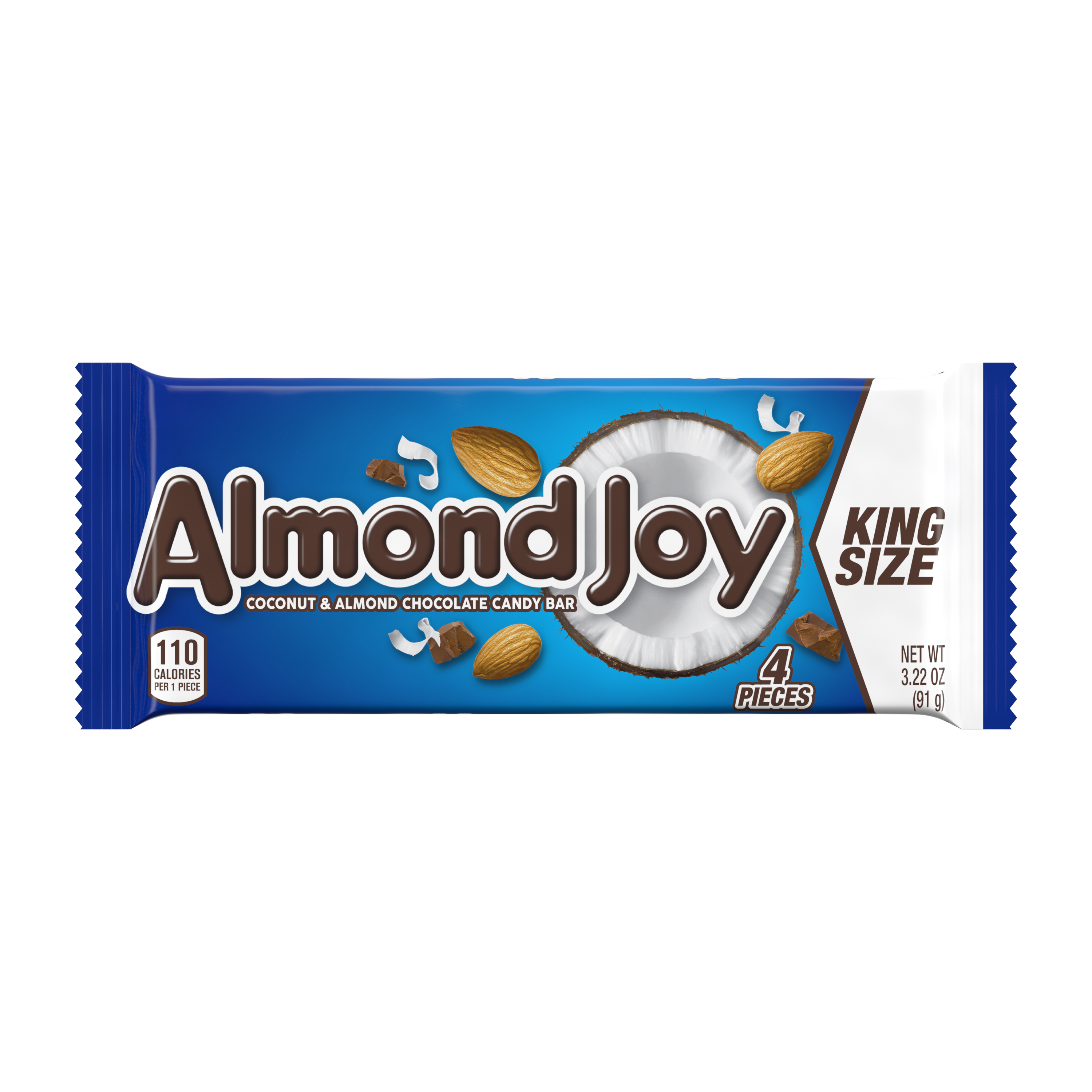 ALMOND JOY Coconut and Almond Chocolate King Size Candy Bar, 3.22 oz - Front of Package