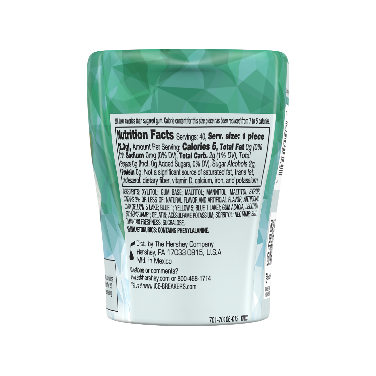 ICE BREAKERS ICE CUBES Wintergreen Sugar Free Gum, 3.24 oz bottle, 40 pieces - Back of Package