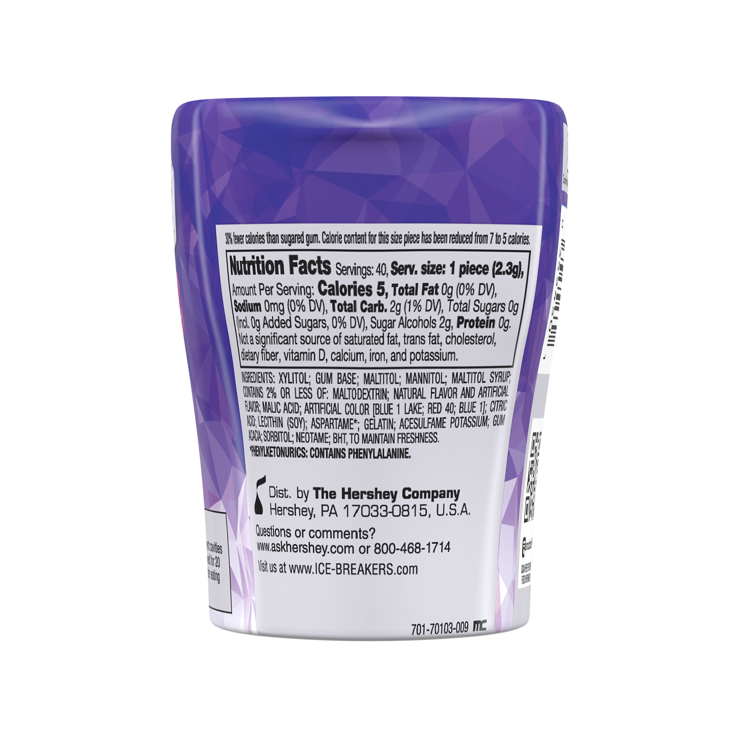 ICE BREAKERS ICE CUBES ARCTIC GRAPE Sugar Free Gum, 3.24 oz bottle, 40 pieces - Back of Package