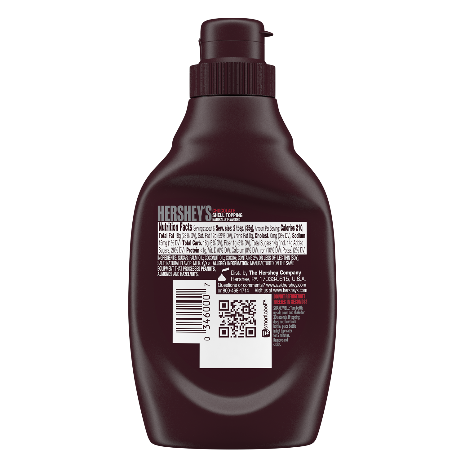 HERSHEY'S Milk Chocolate Shell Topping, 7.25 oz bottle - Back of Package