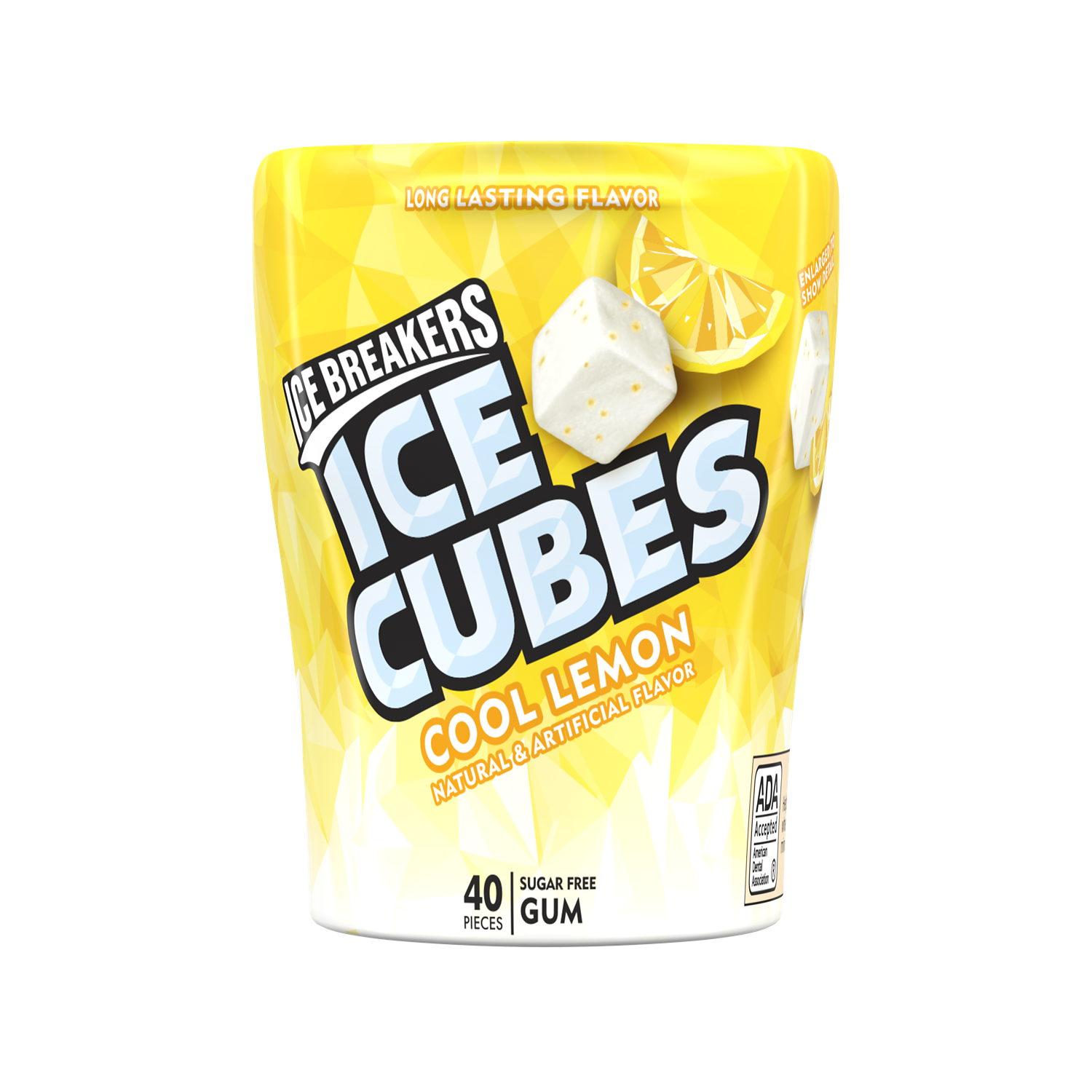 ICE BREAKERS ICE CUBES Cool Lemon Sugar Free Gum, 3.24 oz bottle, 40 pieces - Front of Package